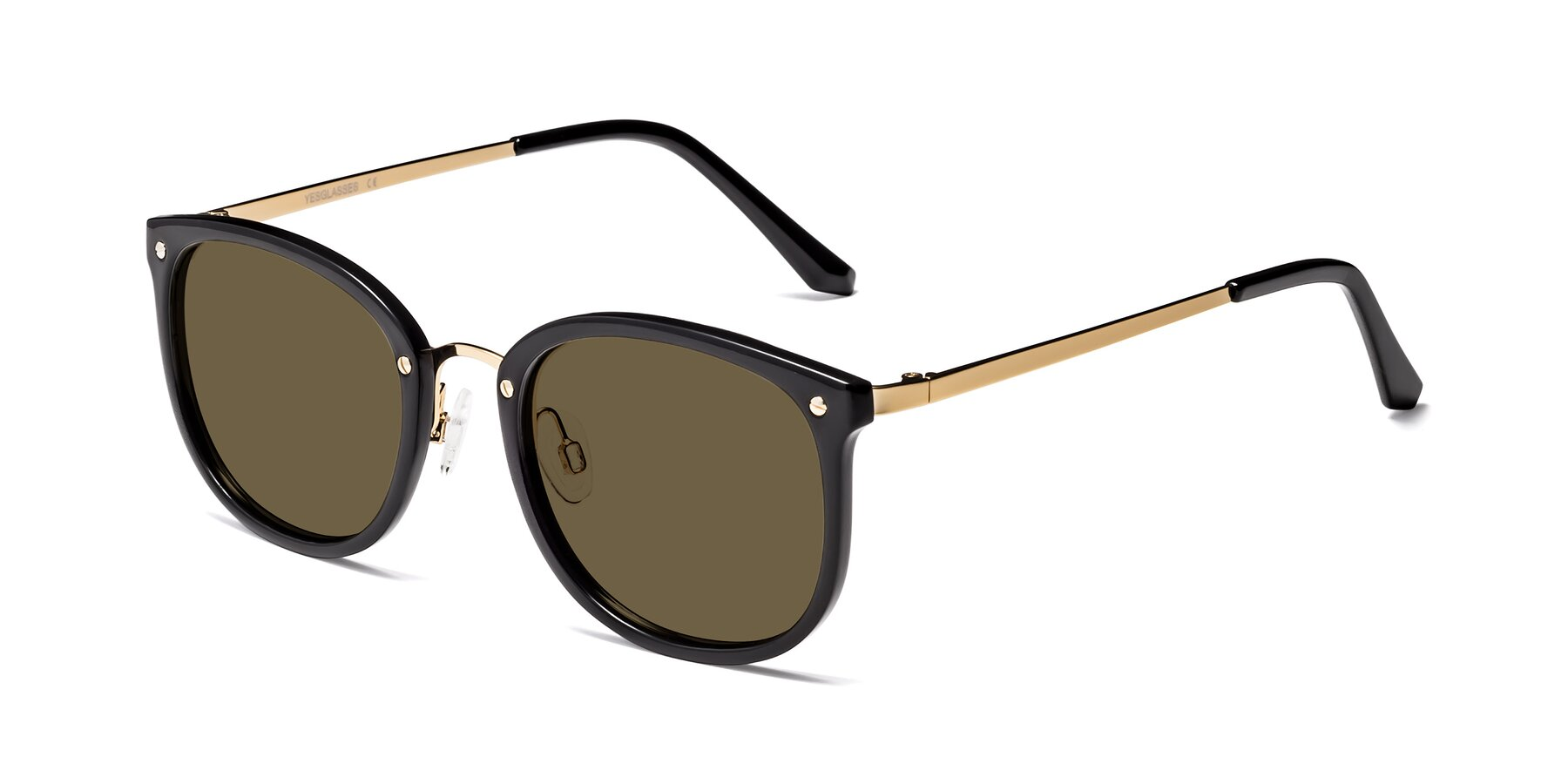 Angle of Timeless in Black-Gold with Brown Polarized Lenses