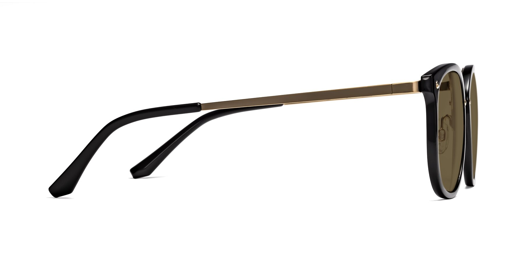 Side of Timeless in Black-Gold with Brown Polarized Lenses