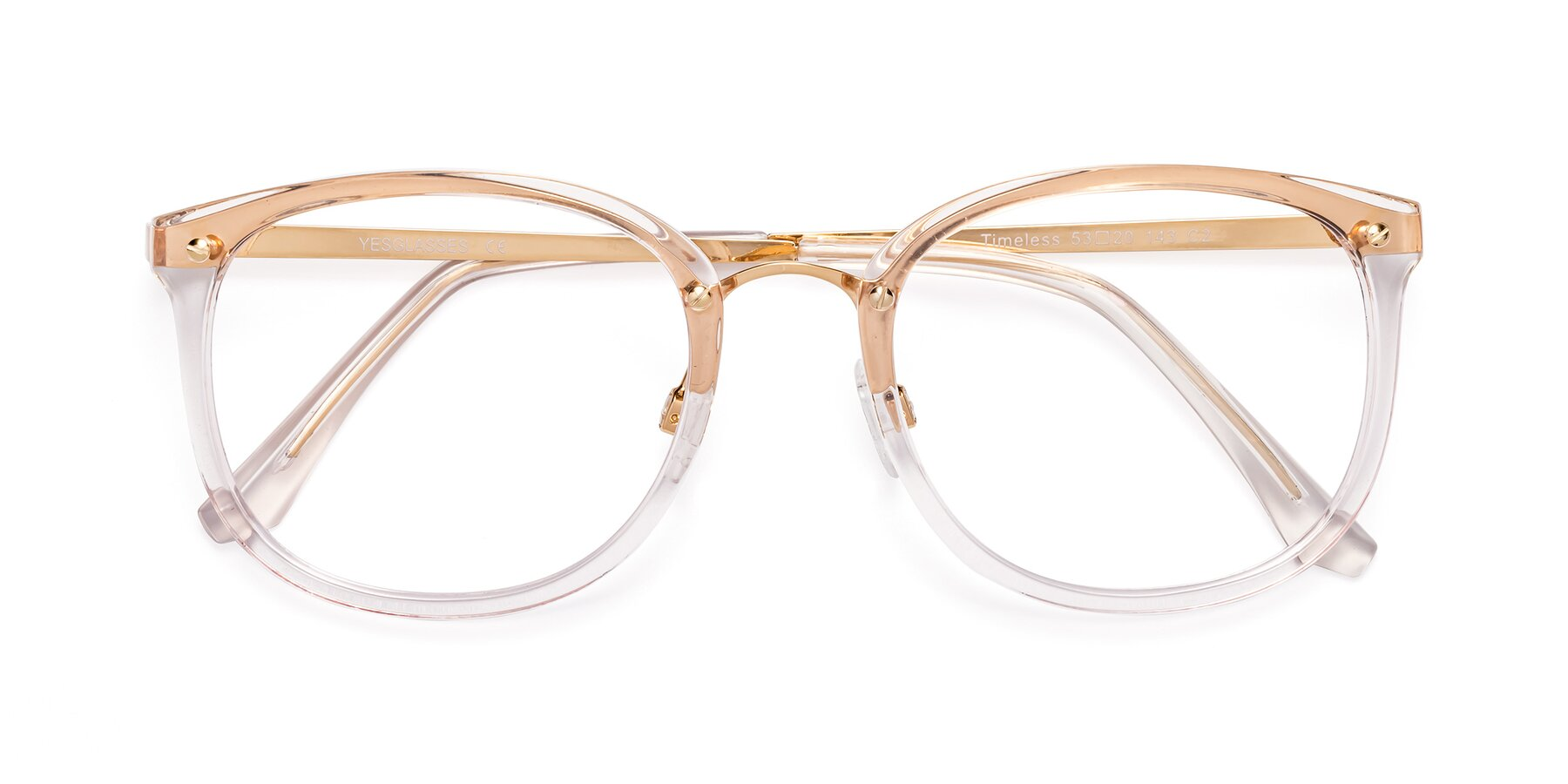 Folded Front of Timeless in Transparent Pink with Clear Eyeglass Lenses