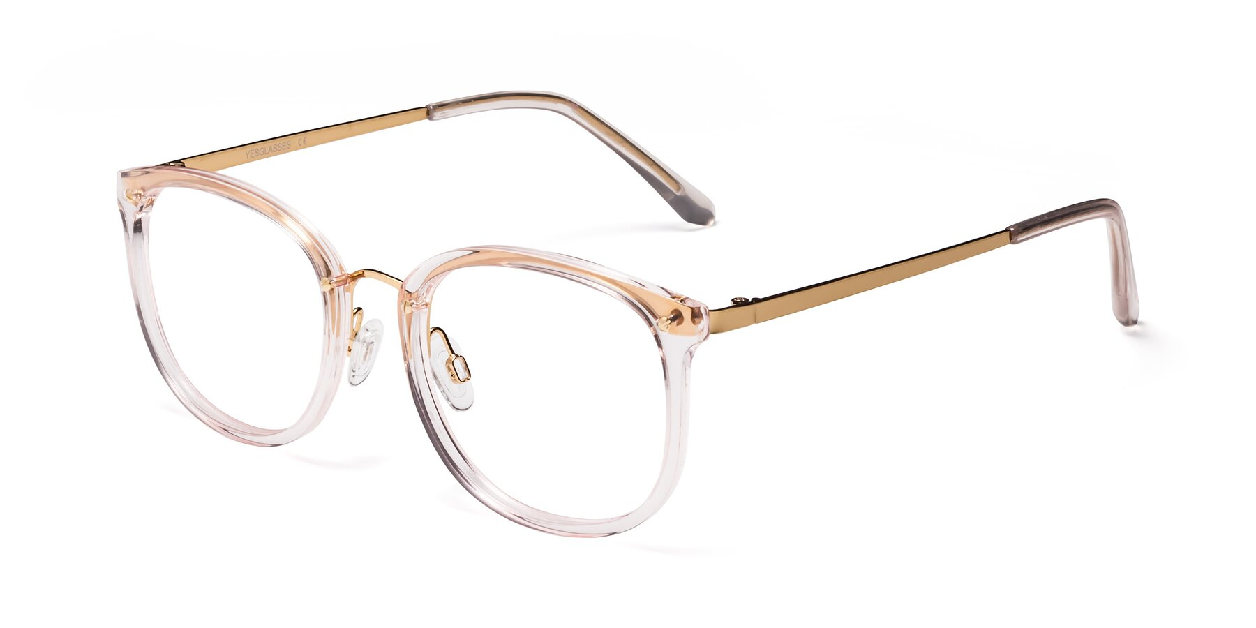 Angle of Timeless in Transparent Pink with Clear Eyeglass Lenses