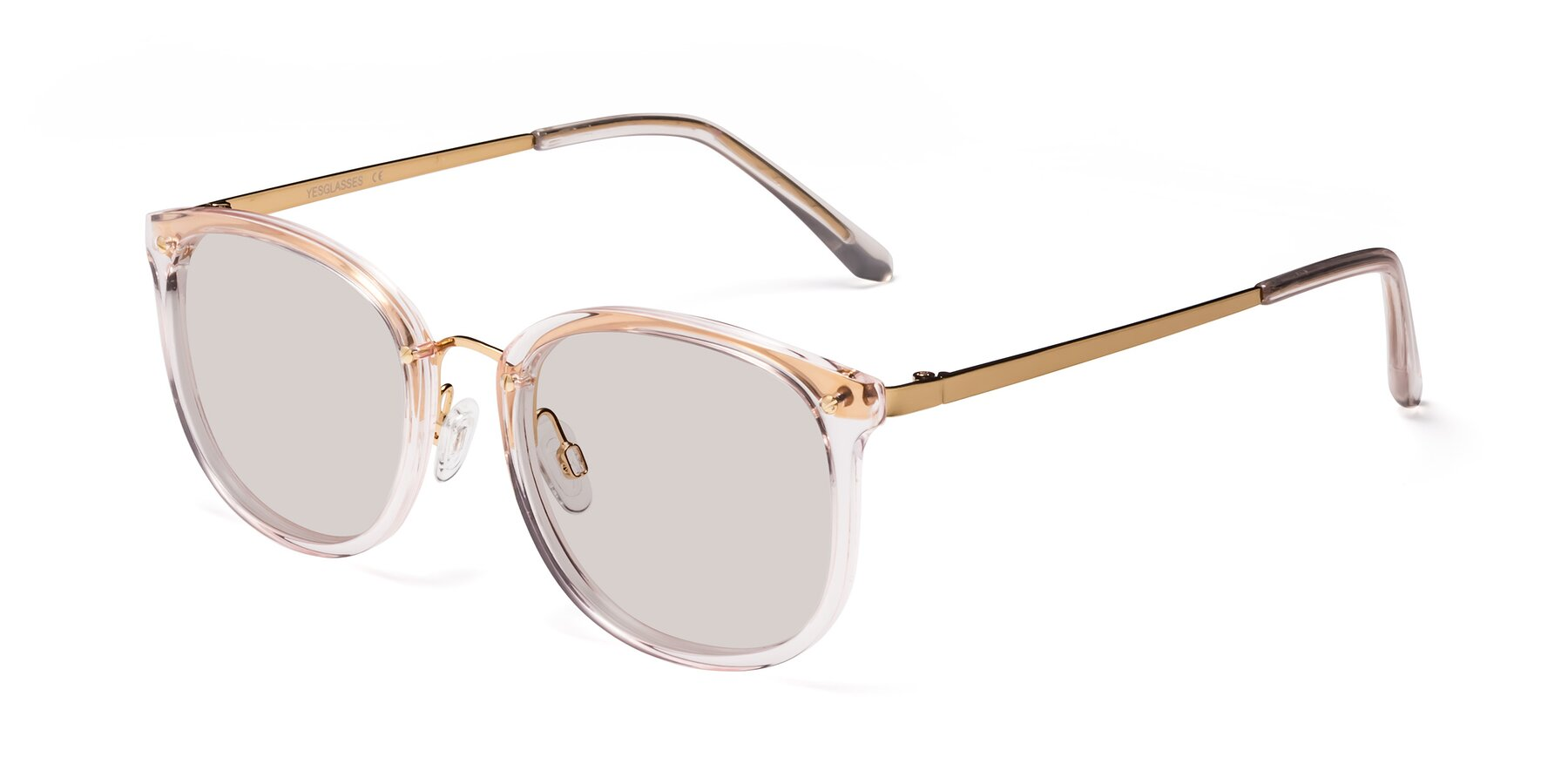 Angle of Timeless in Transparent Pink with Light Brown Tinted Lenses