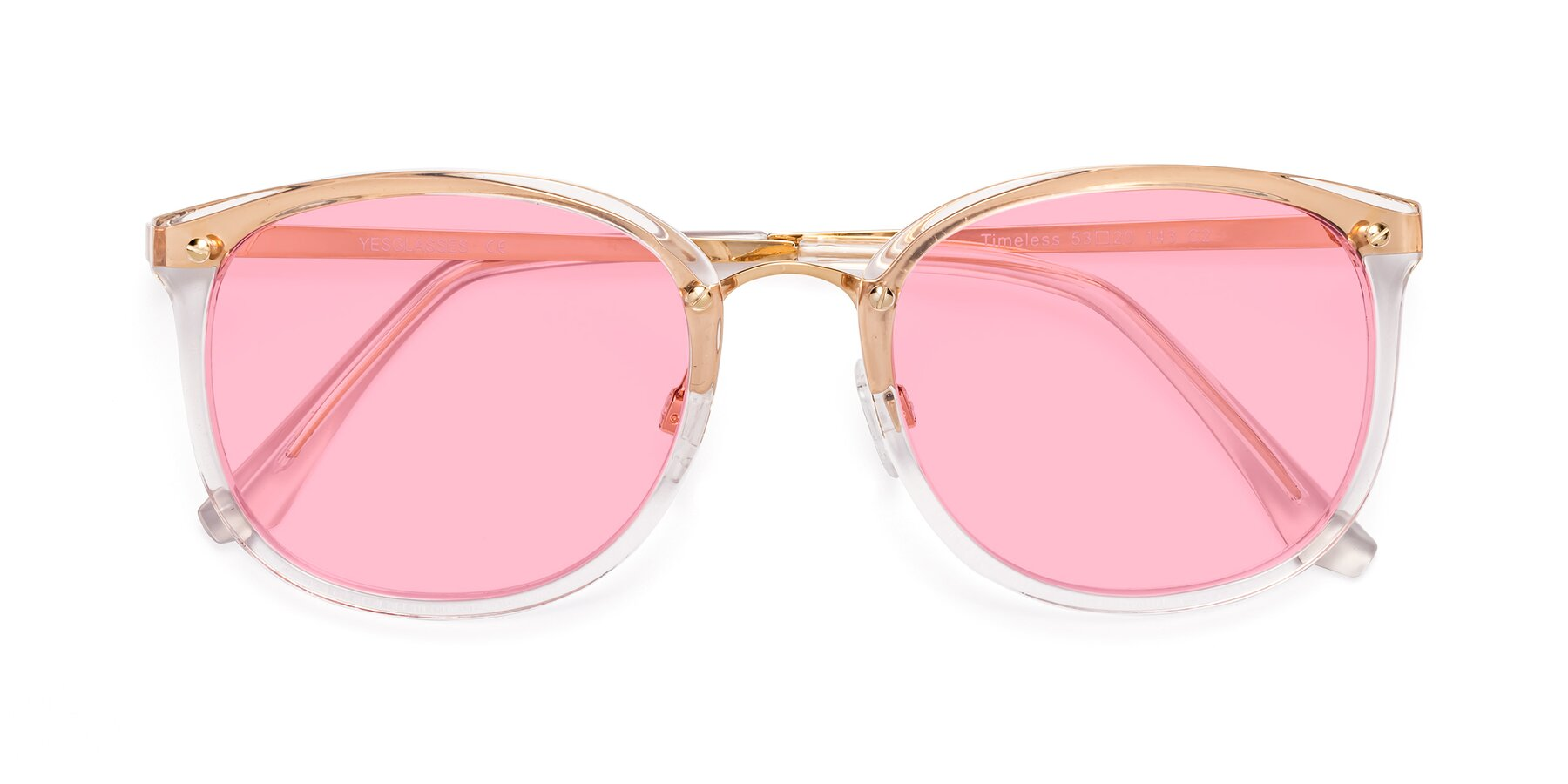 Folded Front of Timeless in Transparent Pink with Medium Pink Tinted Lenses