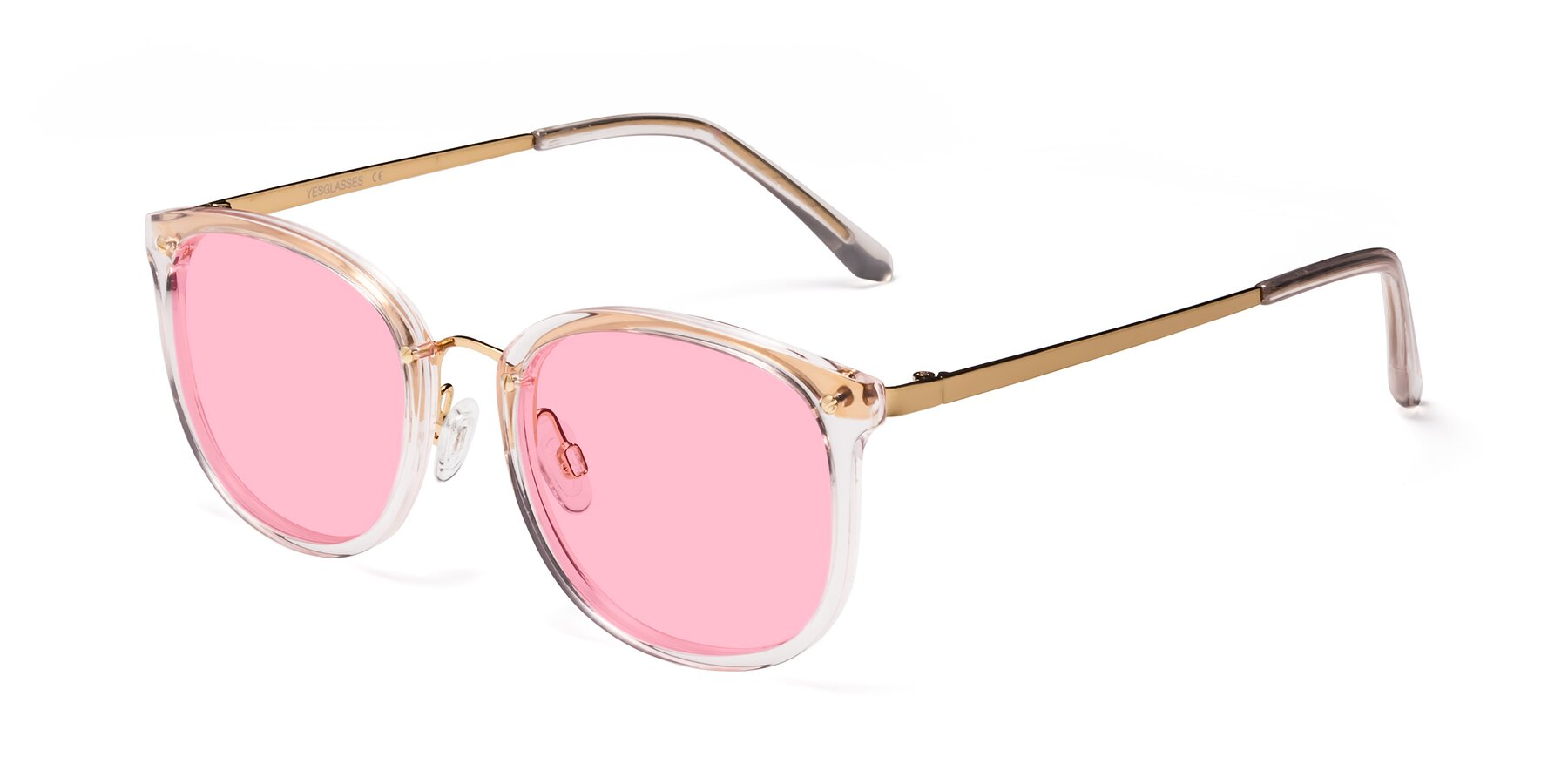 Angle of Timeless in Transparent Pink with Medium Pink Tinted Lenses