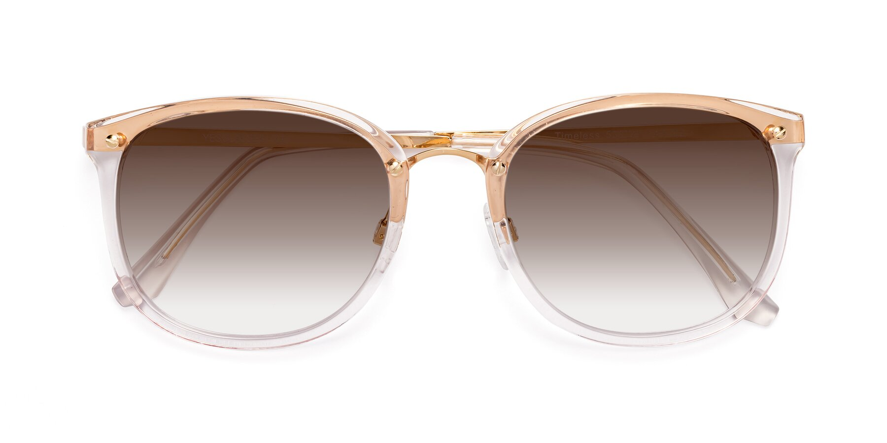 Folded Front of Timeless in Transparent Pink with Brown Gradient Lenses