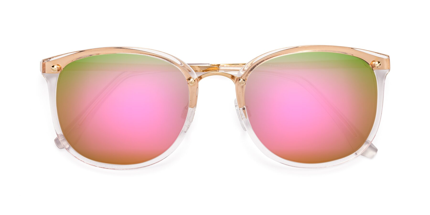 Folded Front of Timeless in Transparent Pink with Pink Mirrored Lenses