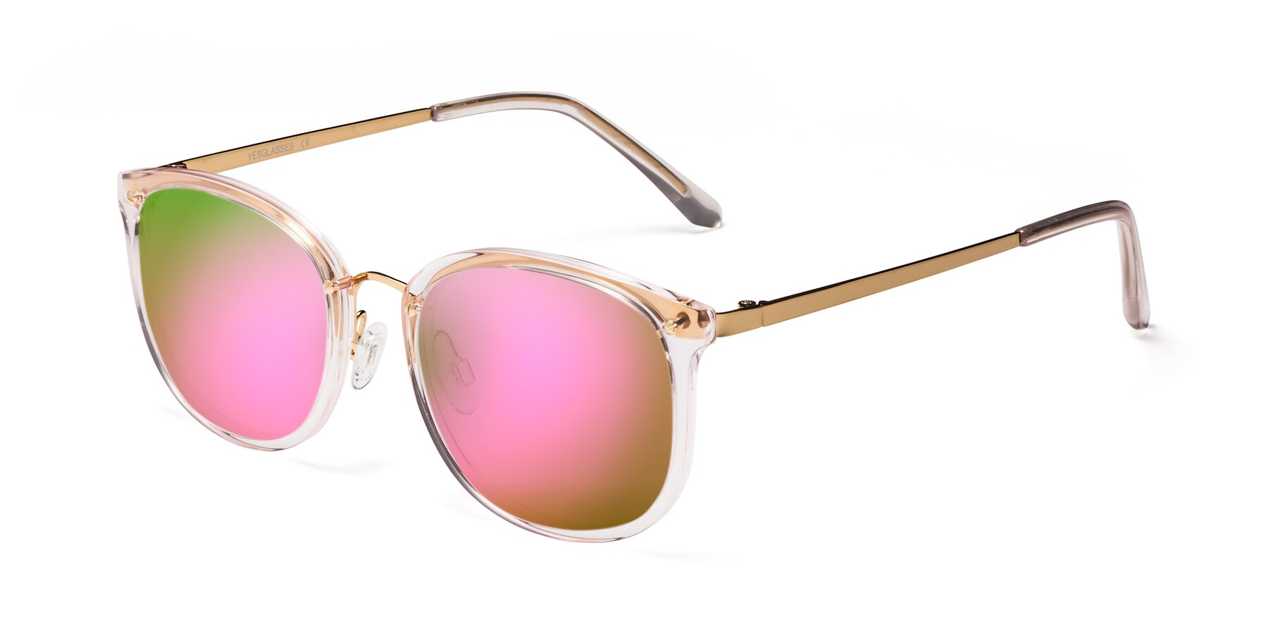 Angle of Timeless in Transparent Pink with Pink Mirrored Lenses