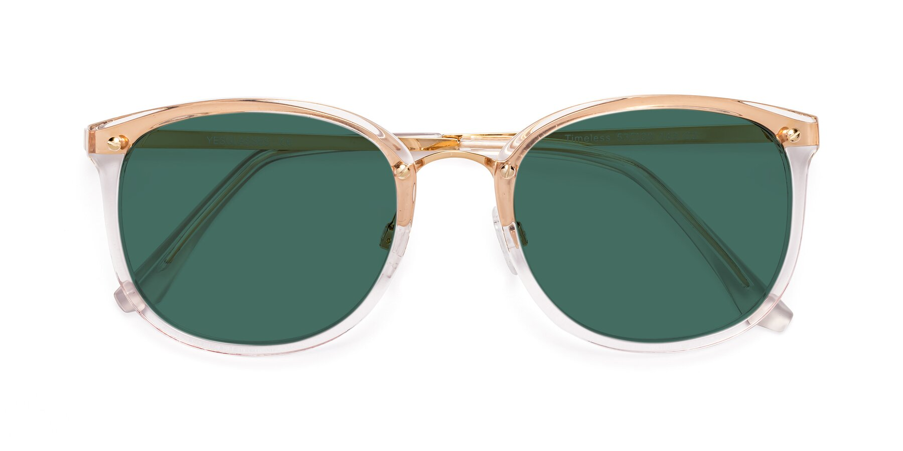 Folded Front of Timeless in Transparent Pink with Green Polarized Lenses