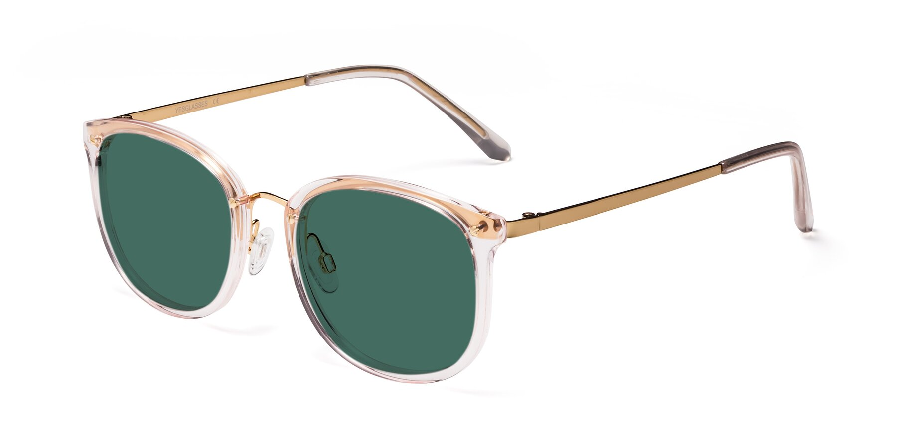 Angle of Timeless in Transparent Pink with Green Polarized Lenses