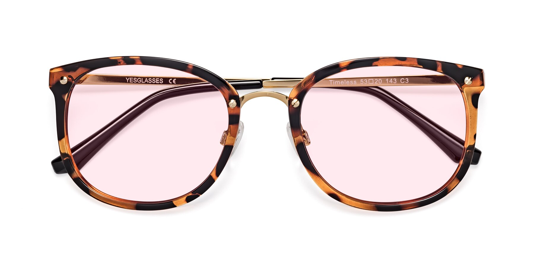Folded Front of Timeless in Tortoise-Golden with Light Pink Tinted Lenses
