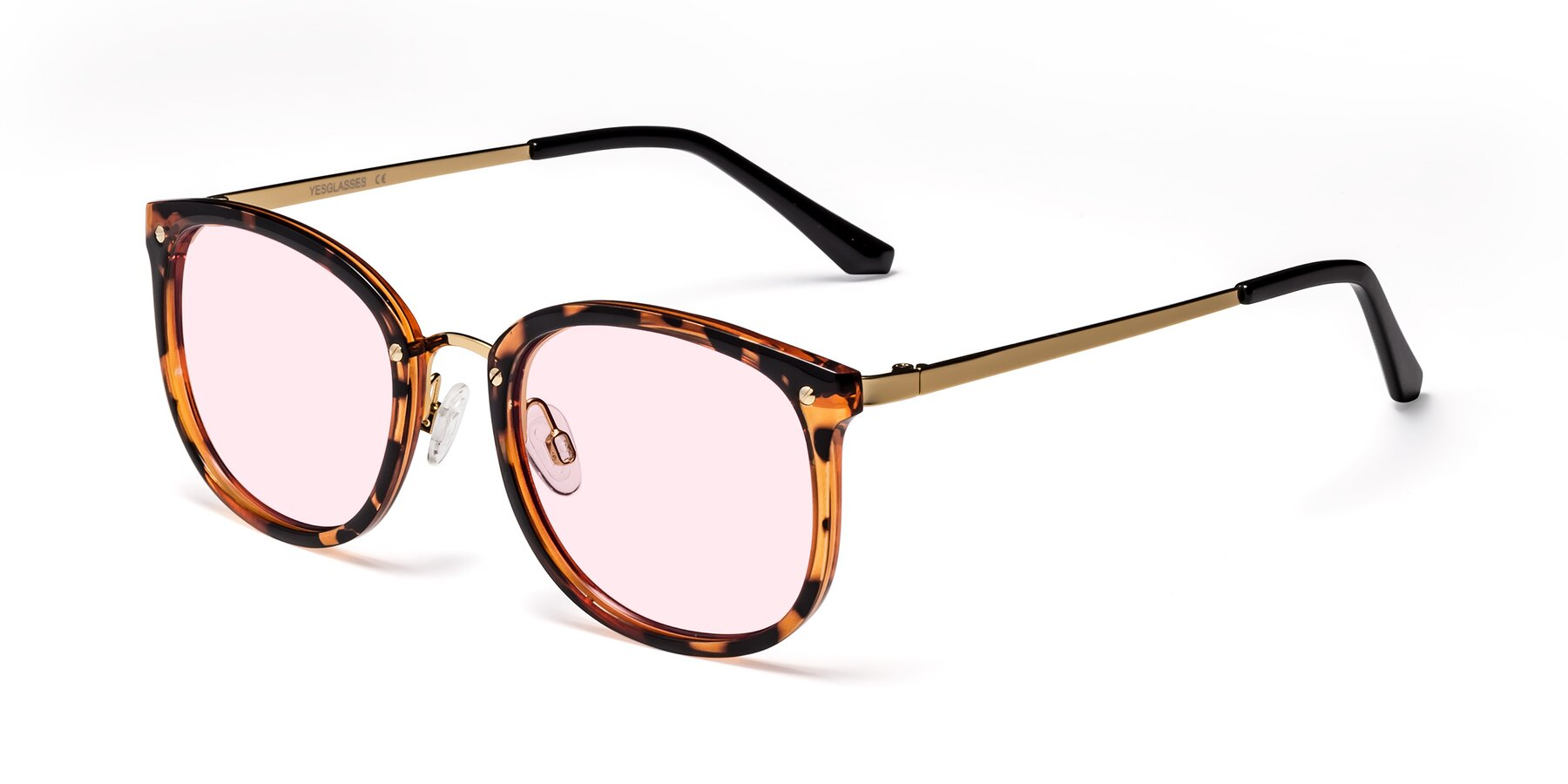 Angle of Timeless in Tortoise-Golden with Light Pink Tinted Lenses