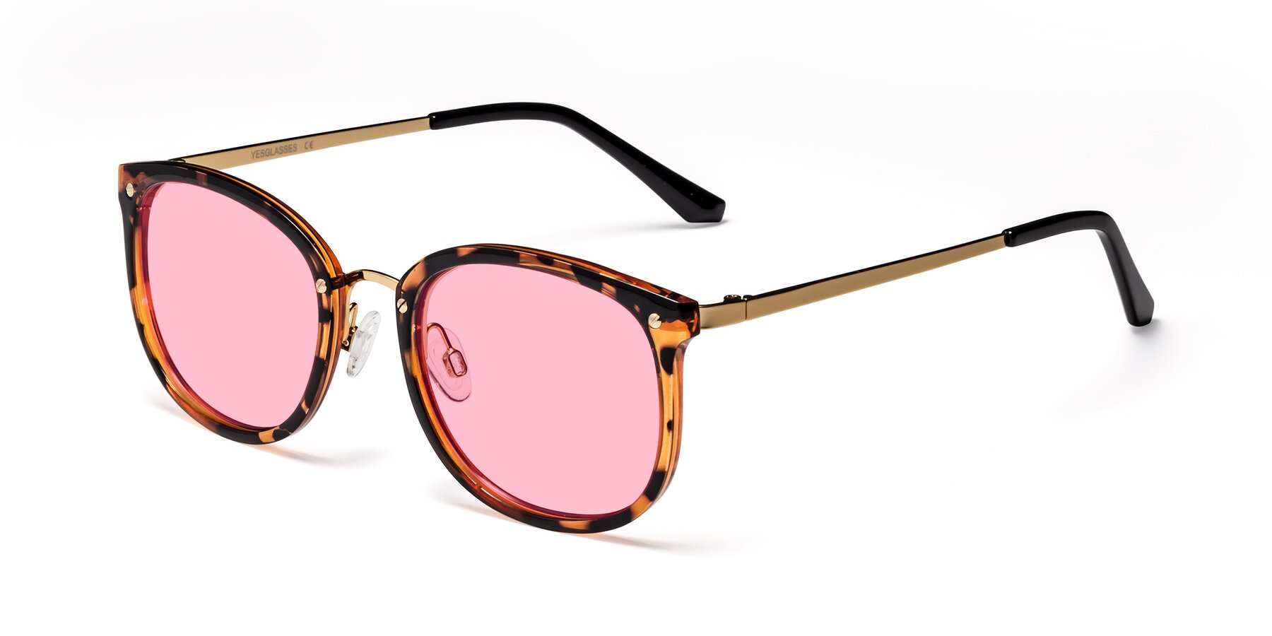 Angle of Timeless in Tortoise-Golden with Medium Pink Tinted Lenses