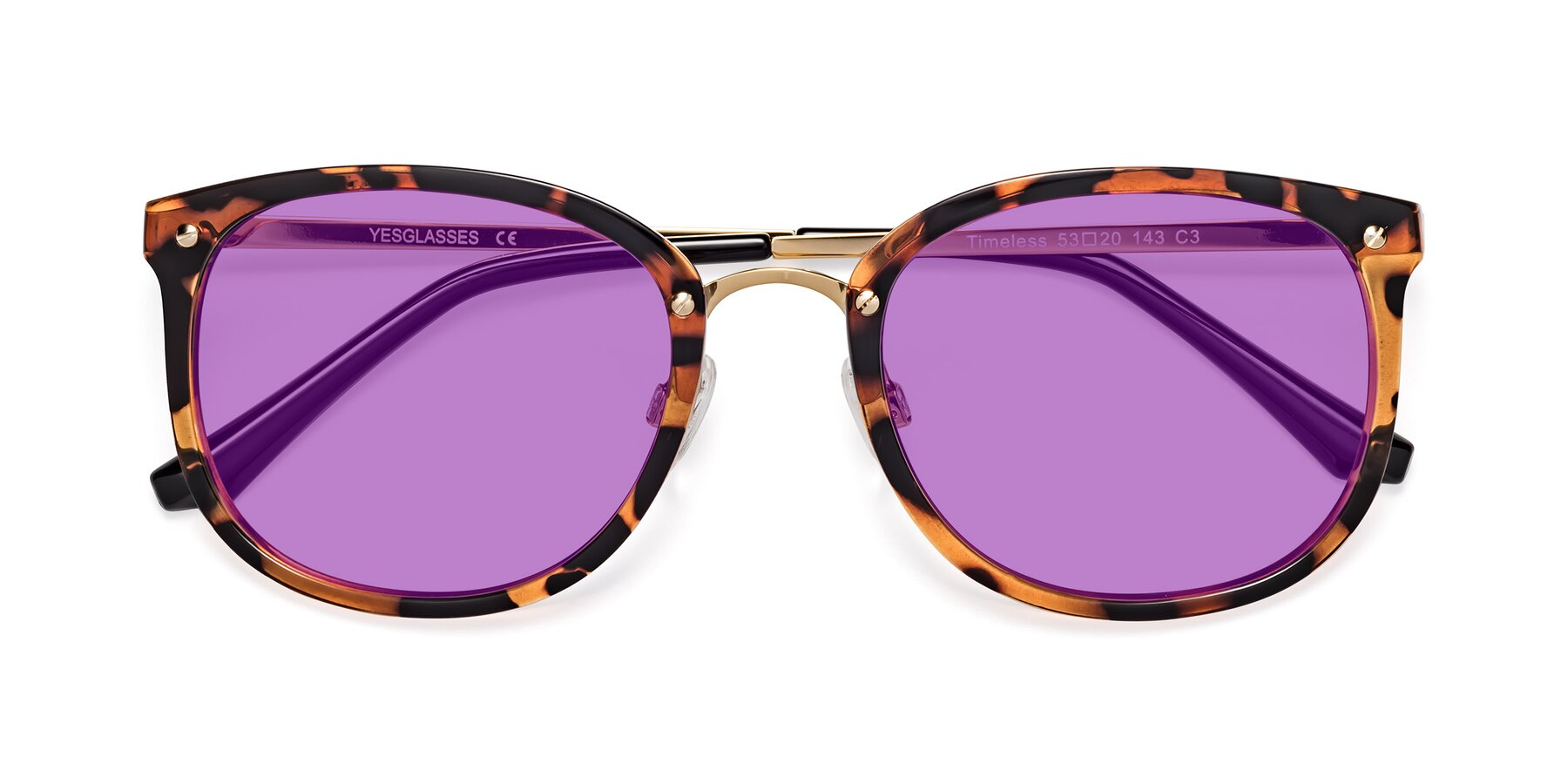 Folded Front of Timeless in Tortoise-Golden with Medium Purple Tinted Lenses