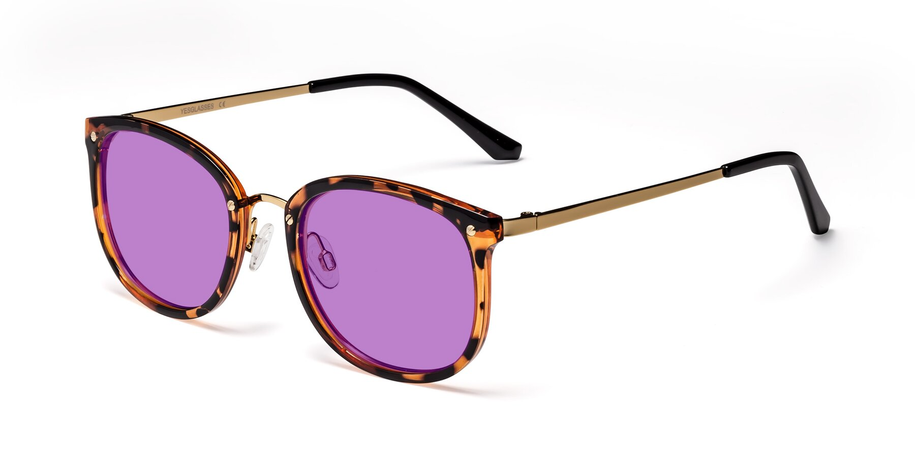 Angle of Timeless in Tortoise-Golden with Medium Purple Tinted Lenses