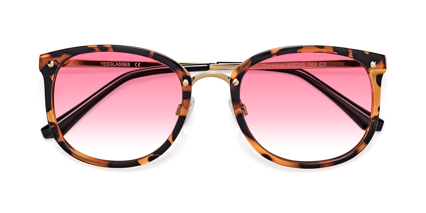 Folded Front of Timeless in Tortoise-Golden with Pink Gradient Lenses