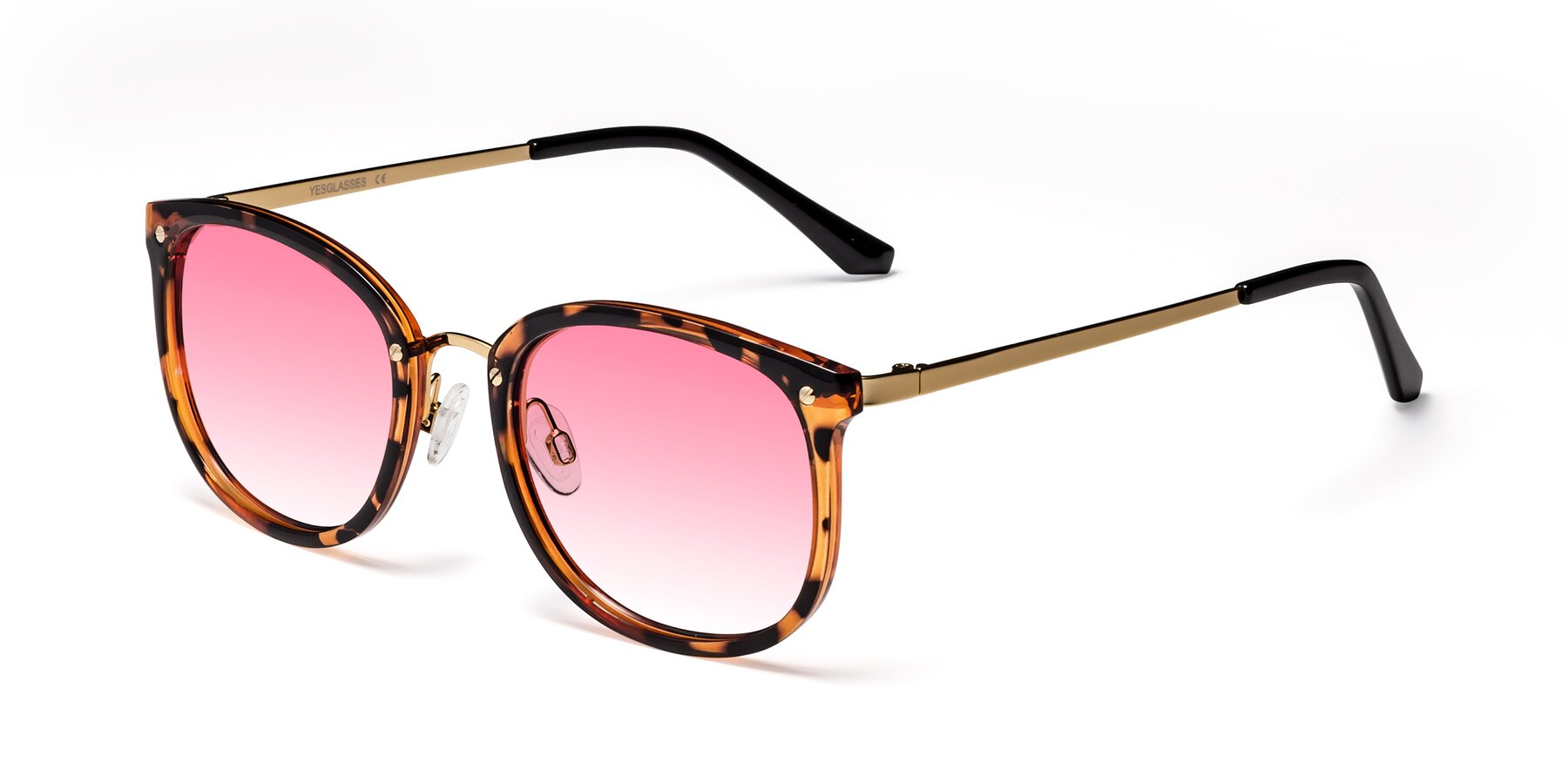 Angle of Timeless in Tortoise-Golden with Pink Gradient Lenses