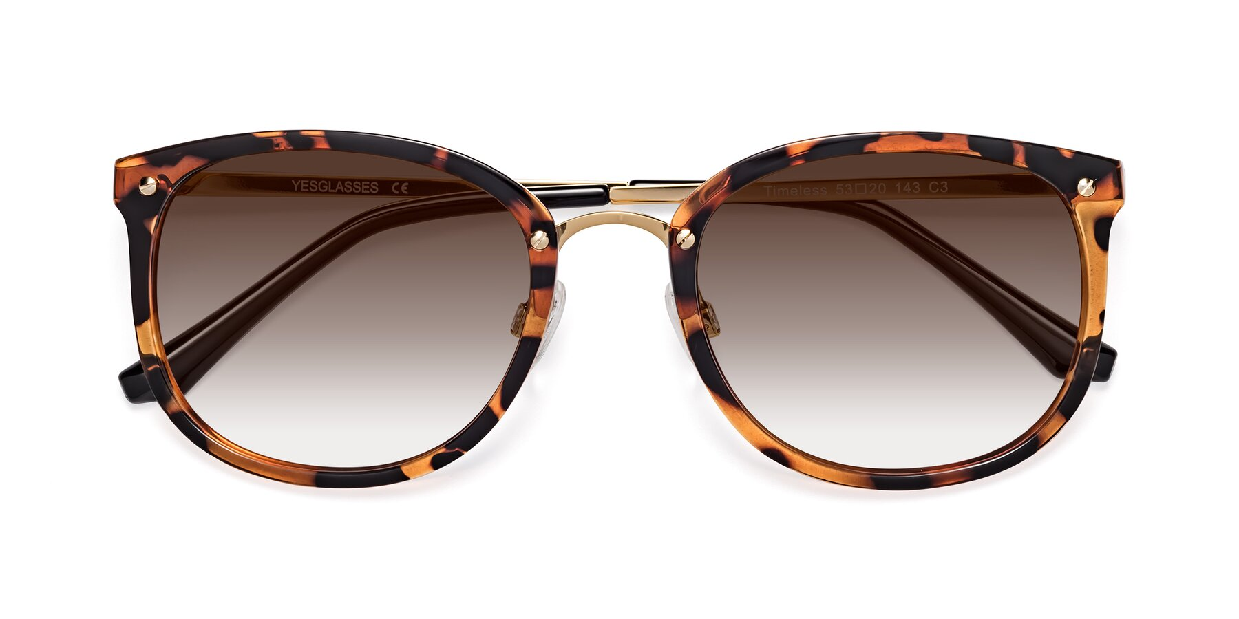 Folded Front of Timeless in Tortoise-Golden with Brown Gradient Lenses