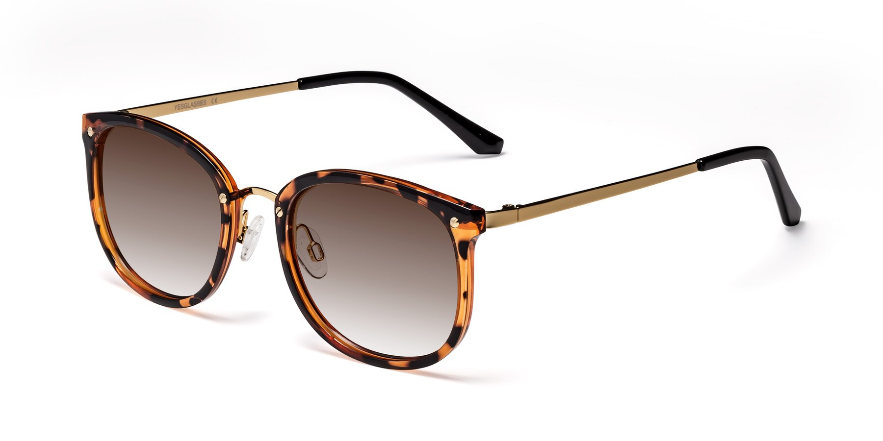 Angle of Timeless in Tortoise-Golden with Brown Gradient Lenses
