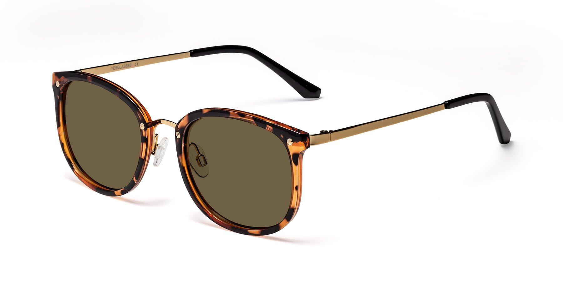 Angle of Timeless in Tortoise-Golden with Brown Polarized Lenses