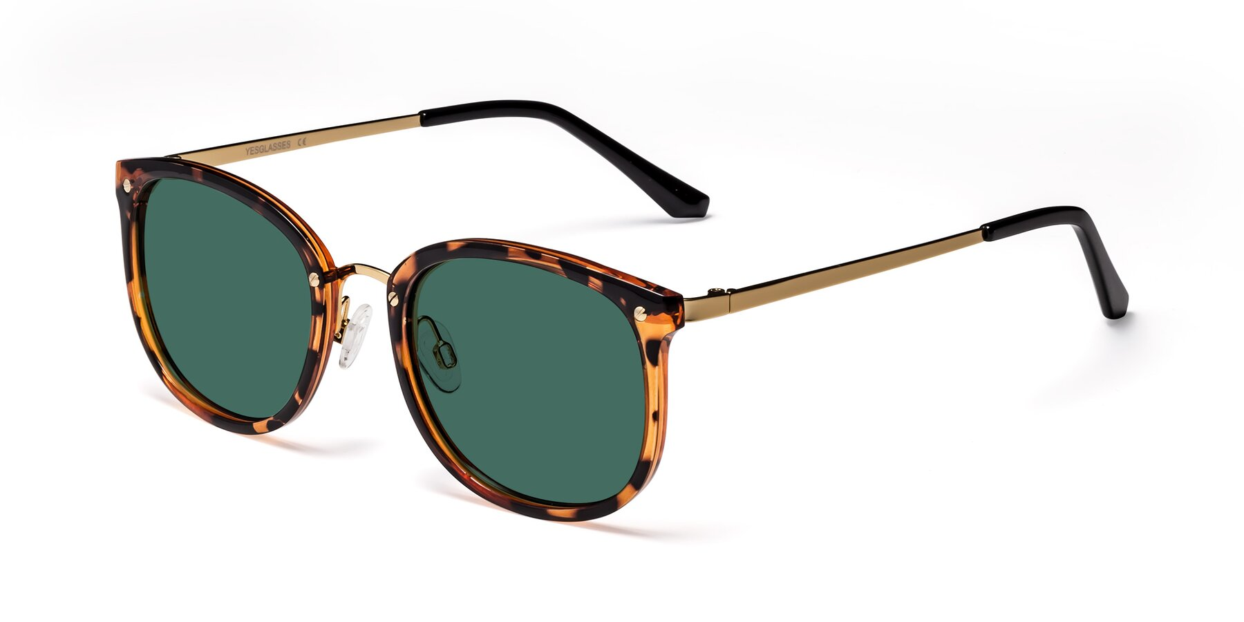 Angle of Timeless in Tortoise-Golden with Green Polarized Lenses