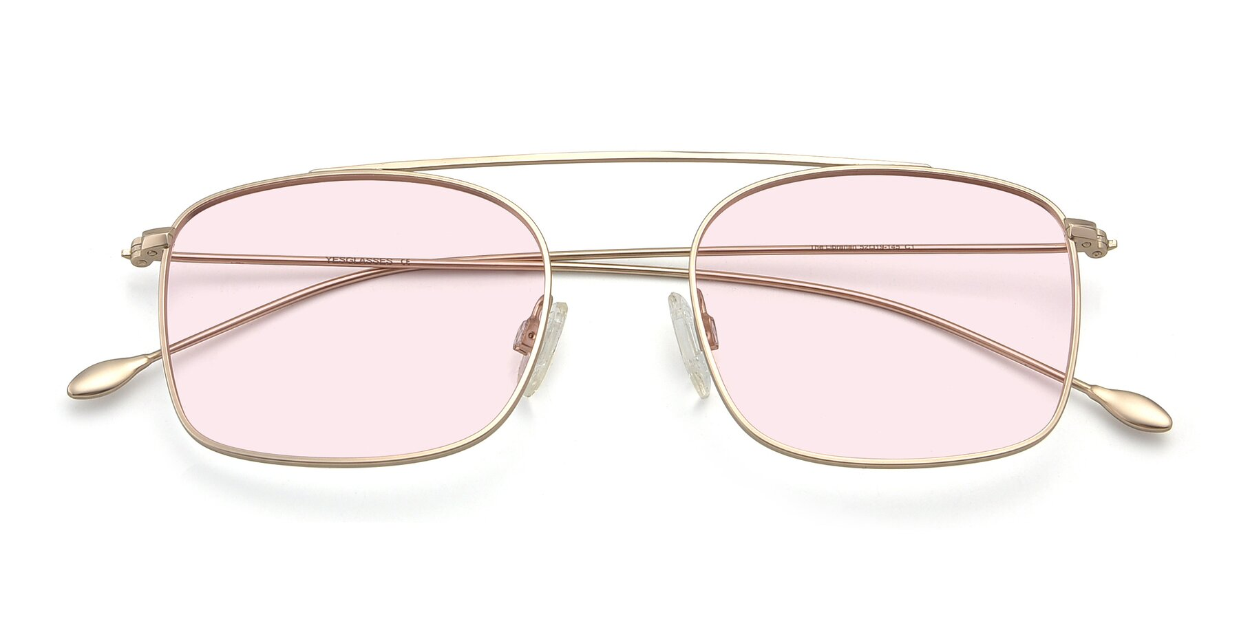 Folded Front of The Librarian in Copper with Light Pink Tinted Lenses