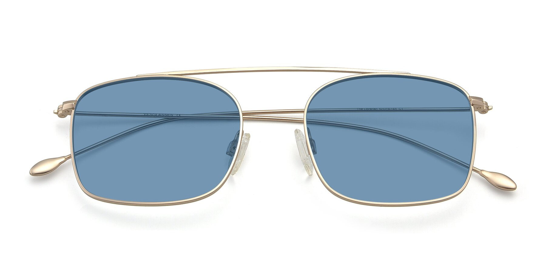 Folded Front of The Librarian in Copper with Medium Blue Tinted Lenses