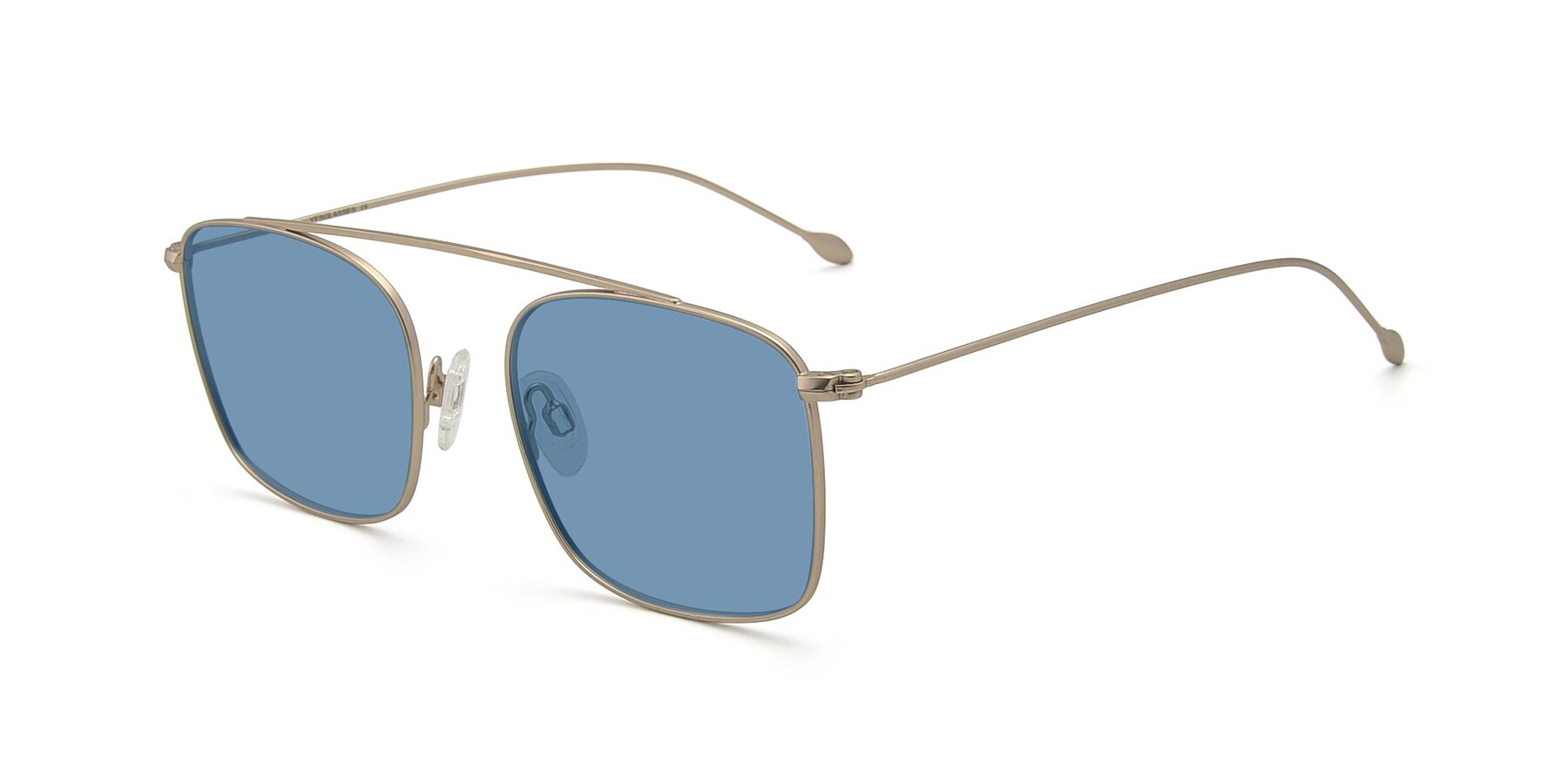 Angle of The Librarian in Copper with Medium Blue Tinted Lenses