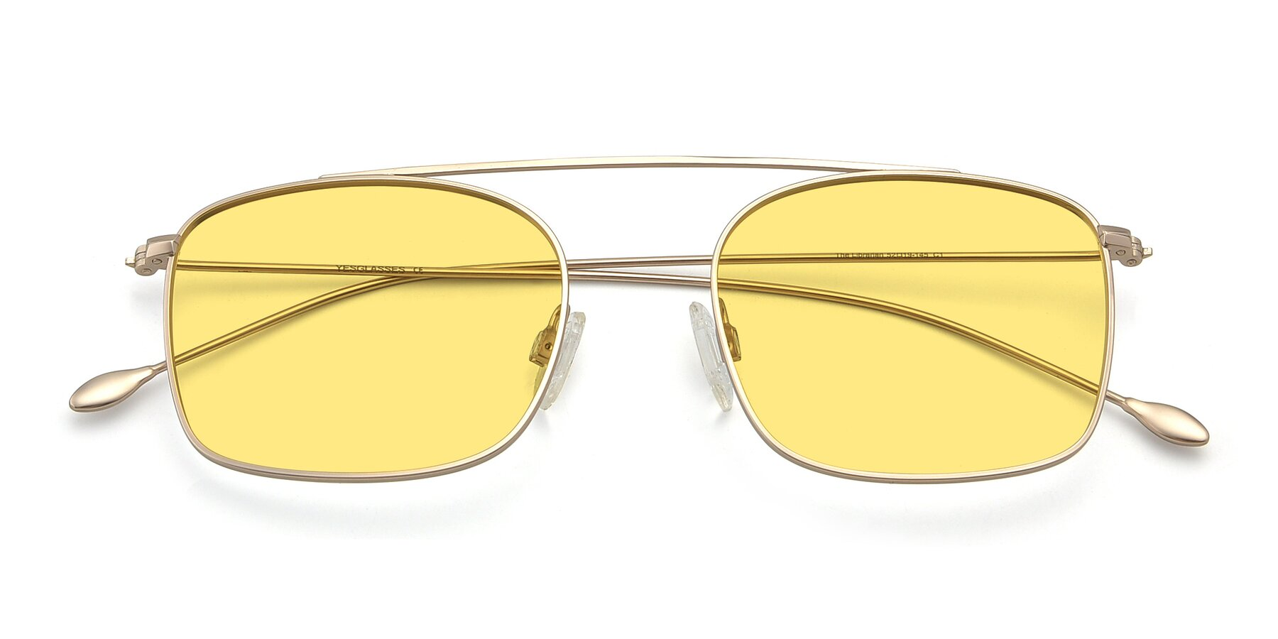 Folded Front of The Librarian in Copper with Medium Yellow Tinted Lenses