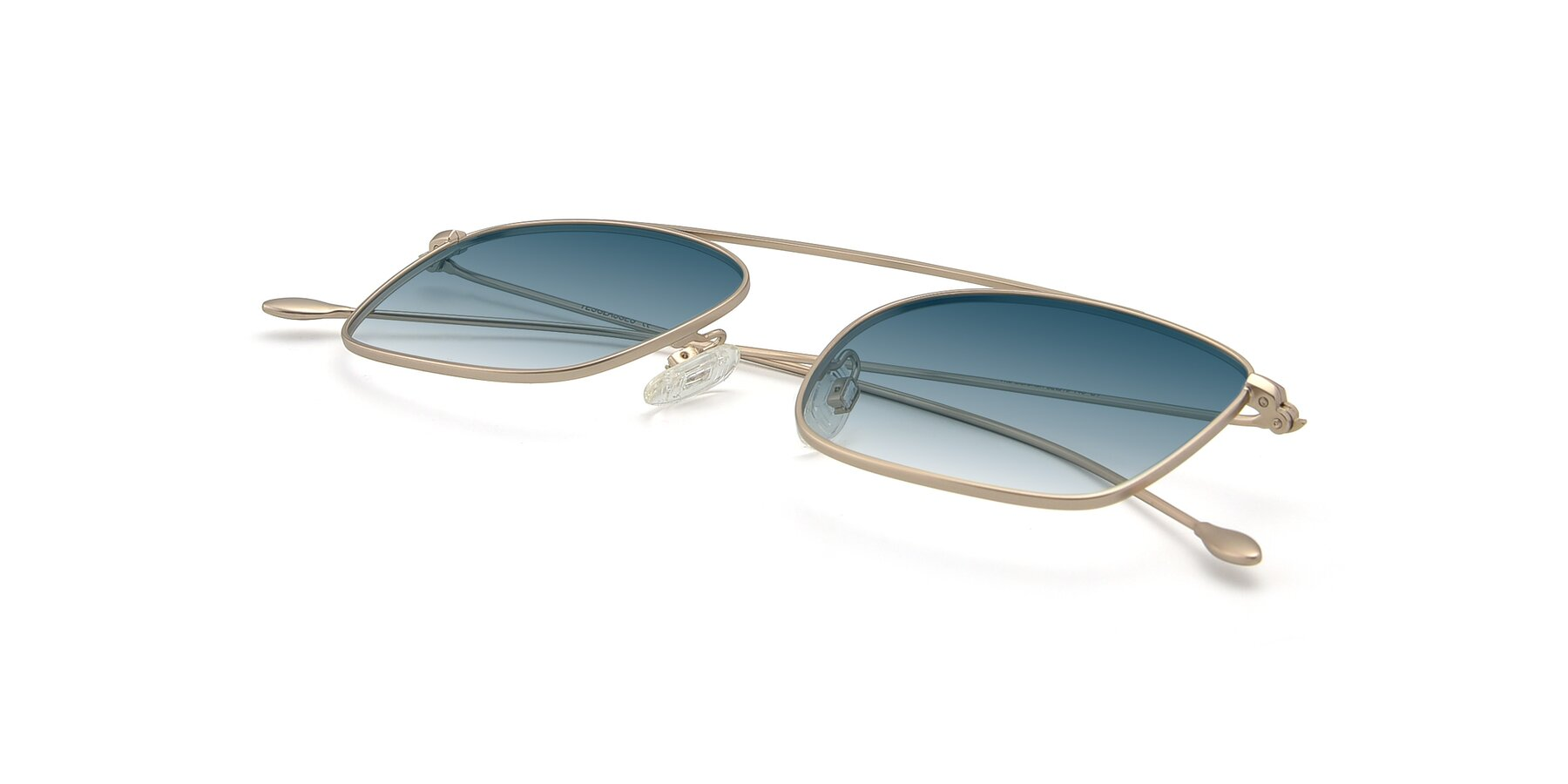 View of The Librarian in Copper with Blue Gradient Lenses