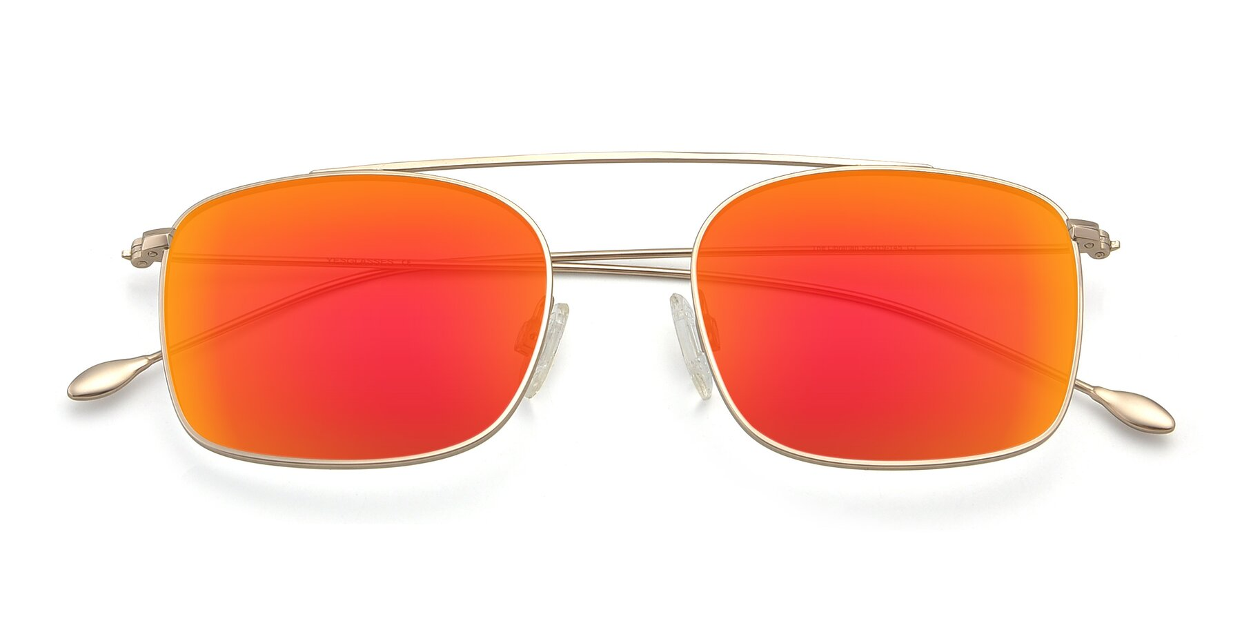 Folded Front of The Librarian in Copper with Red Gold Mirrored Lenses