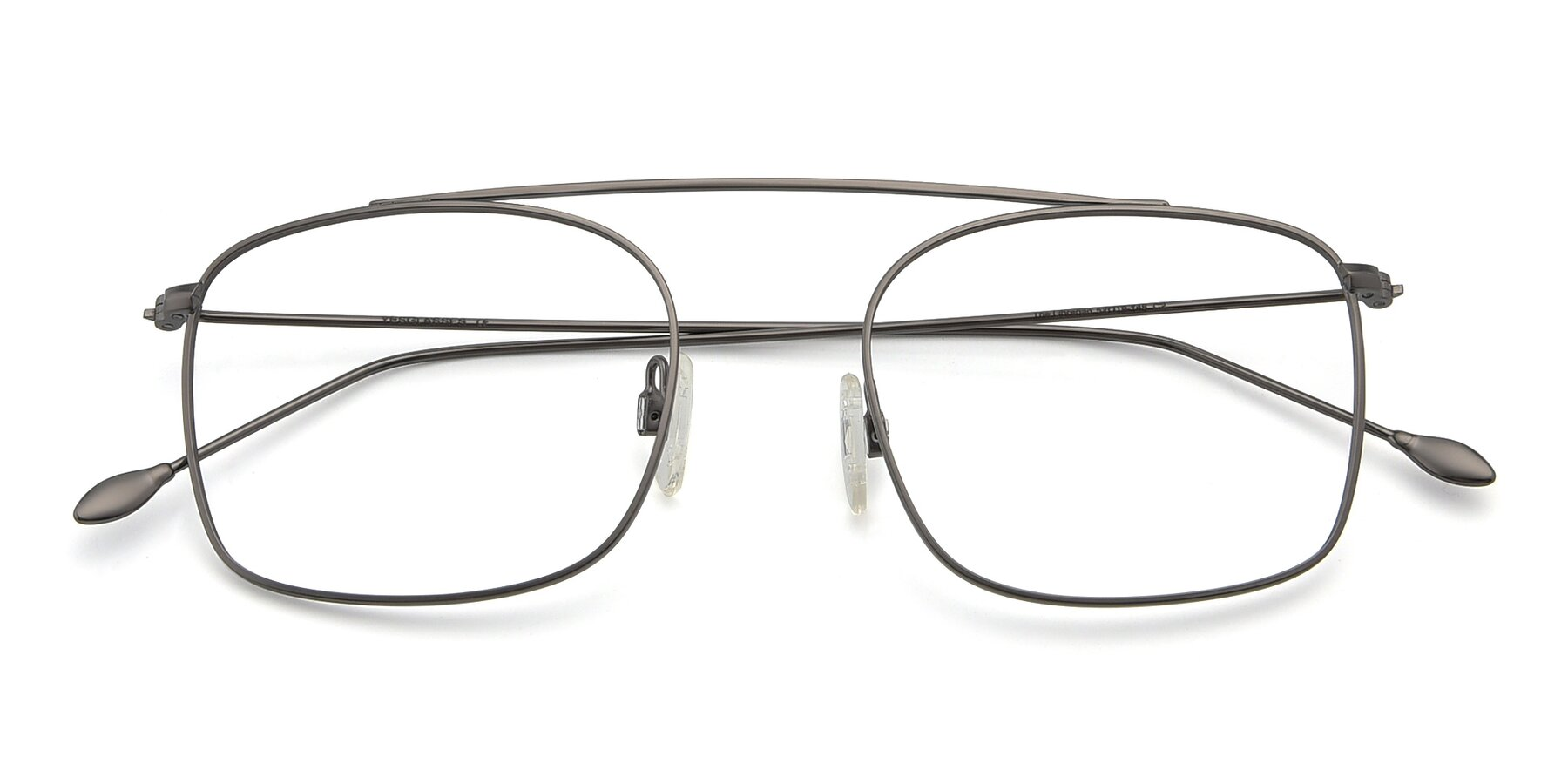 Folded Front of The Librarian in Gunmetal with Clear Blue Light Blocking Lenses