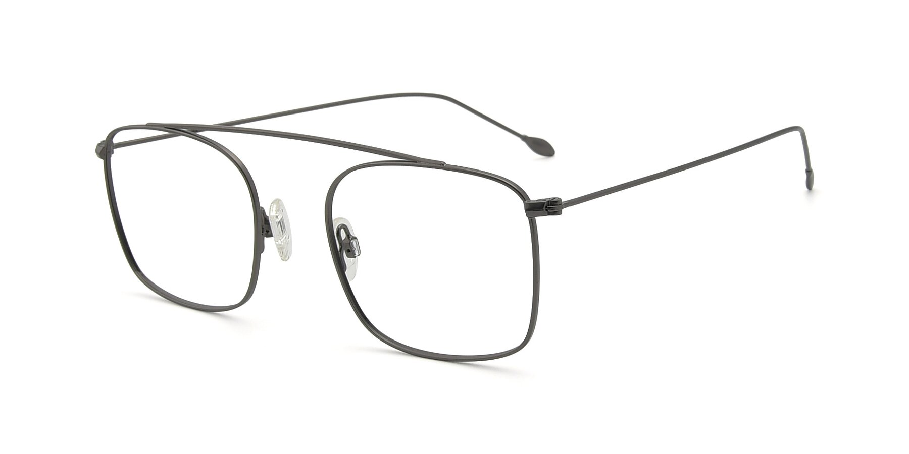 Angle of The Librarian in Gunmetal with Clear Blue Light Blocking Lenses