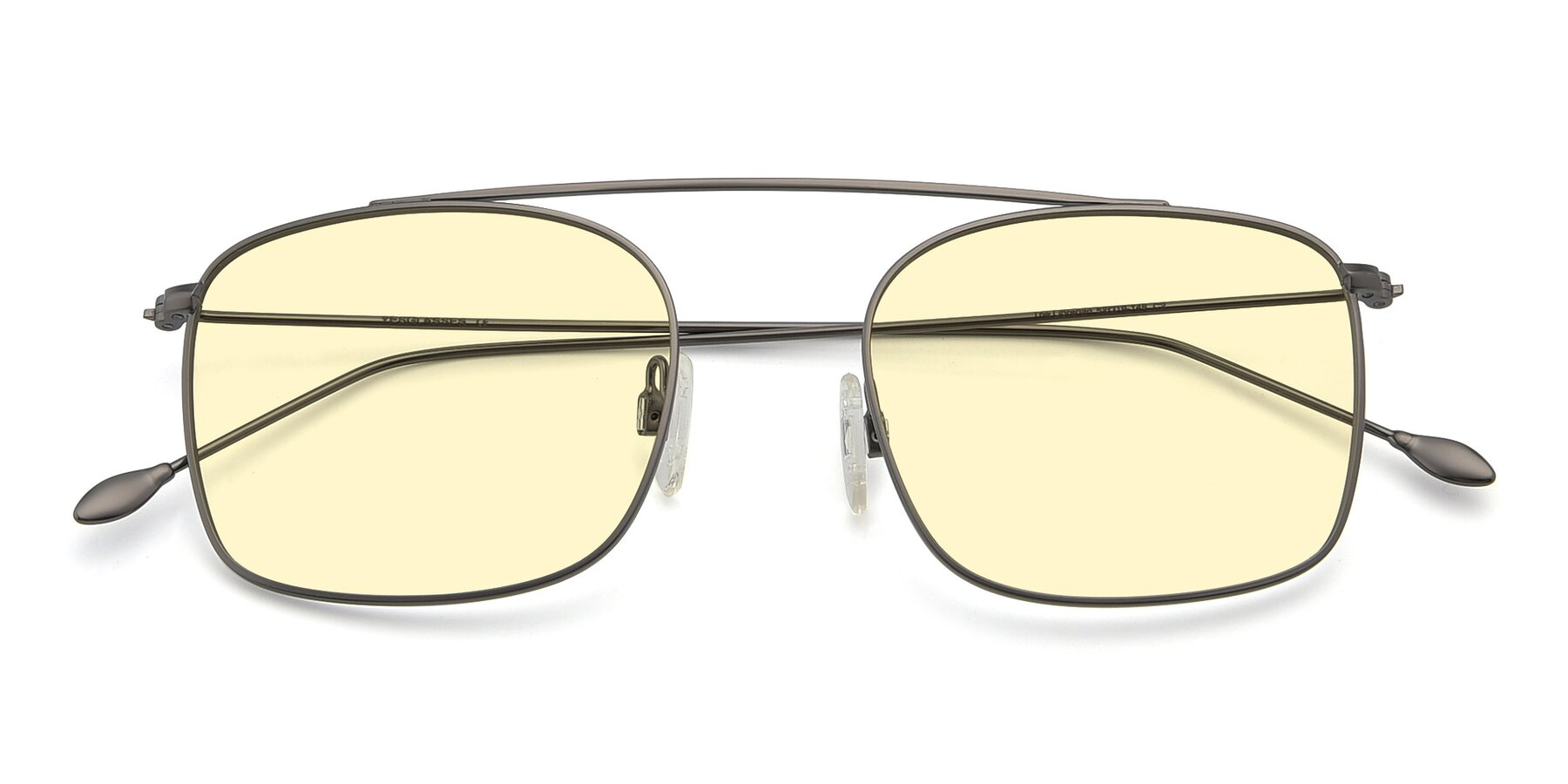Folded Front of The Librarian in Gunmetal with Light Yellow Tinted Lenses