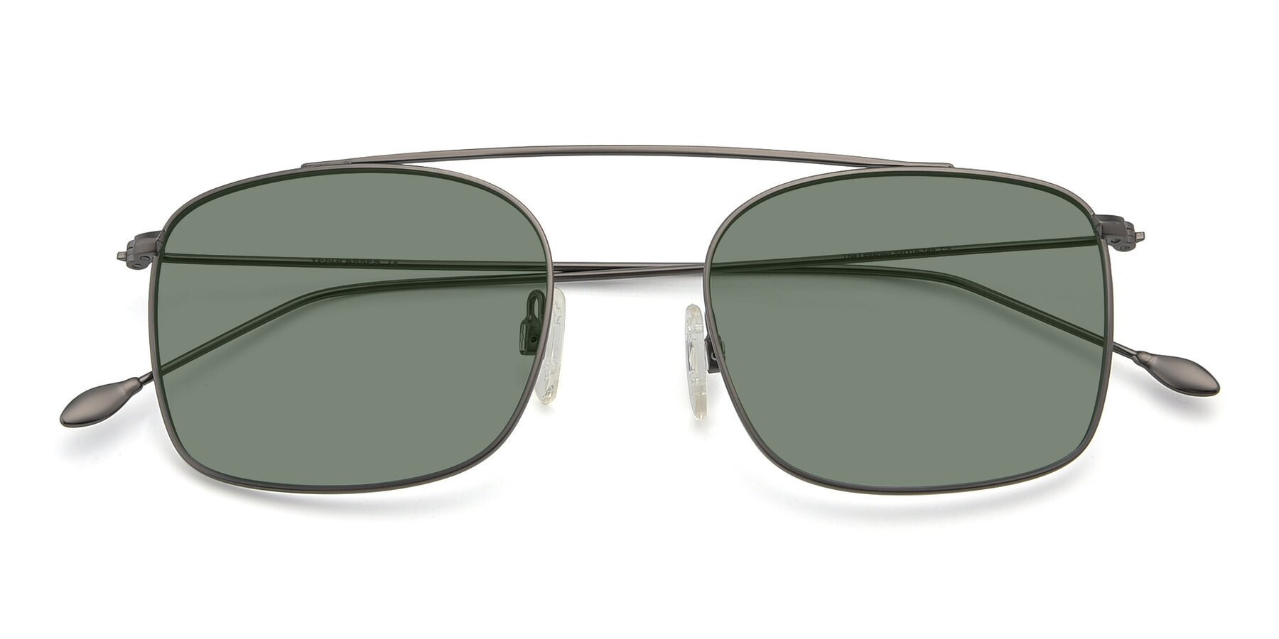 Folded Front of The Librarian in Gunmetal with Medium Green Tinted Lenses