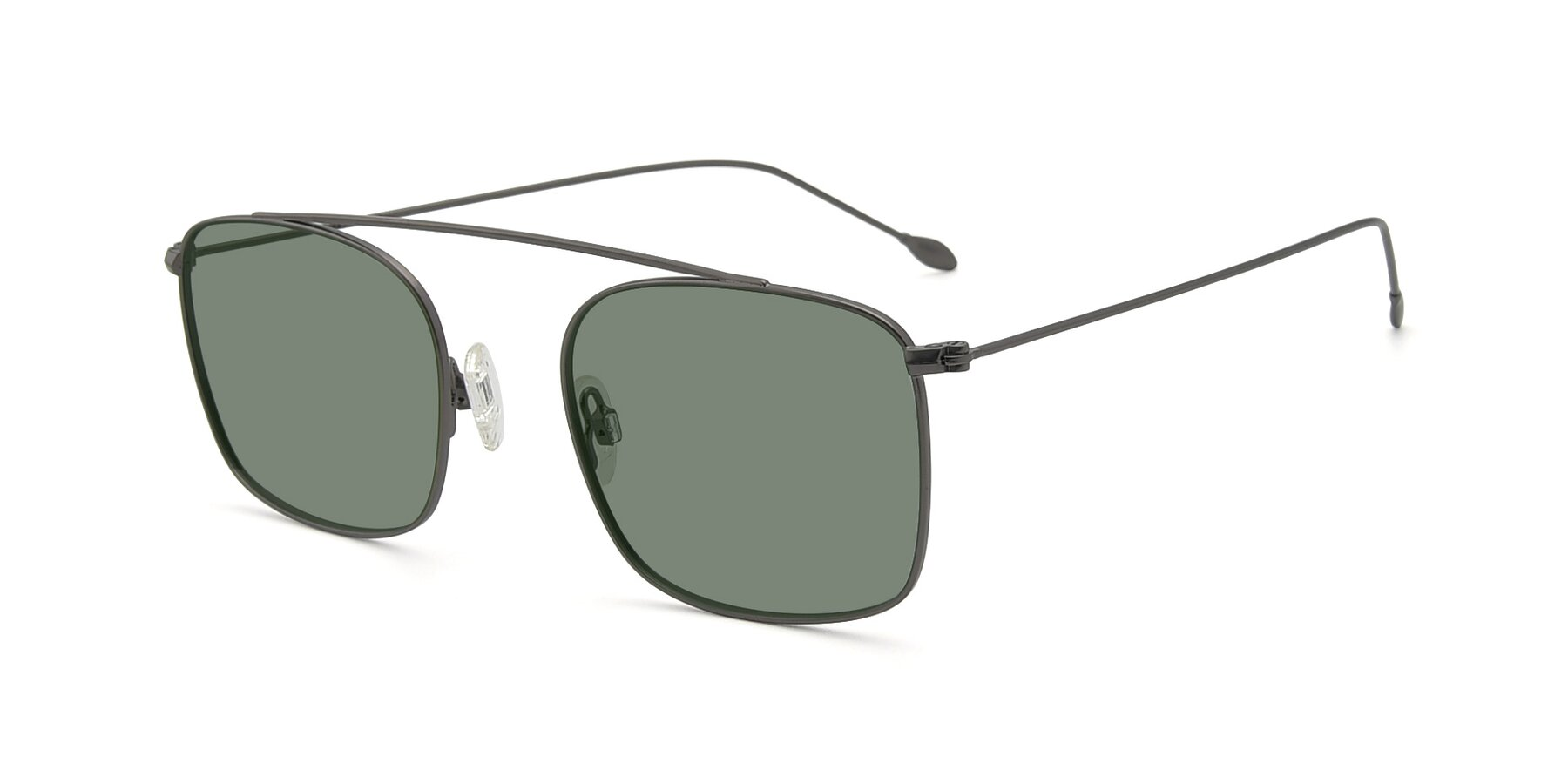 Angle of The Librarian in Gunmetal with Medium Green Tinted Lenses