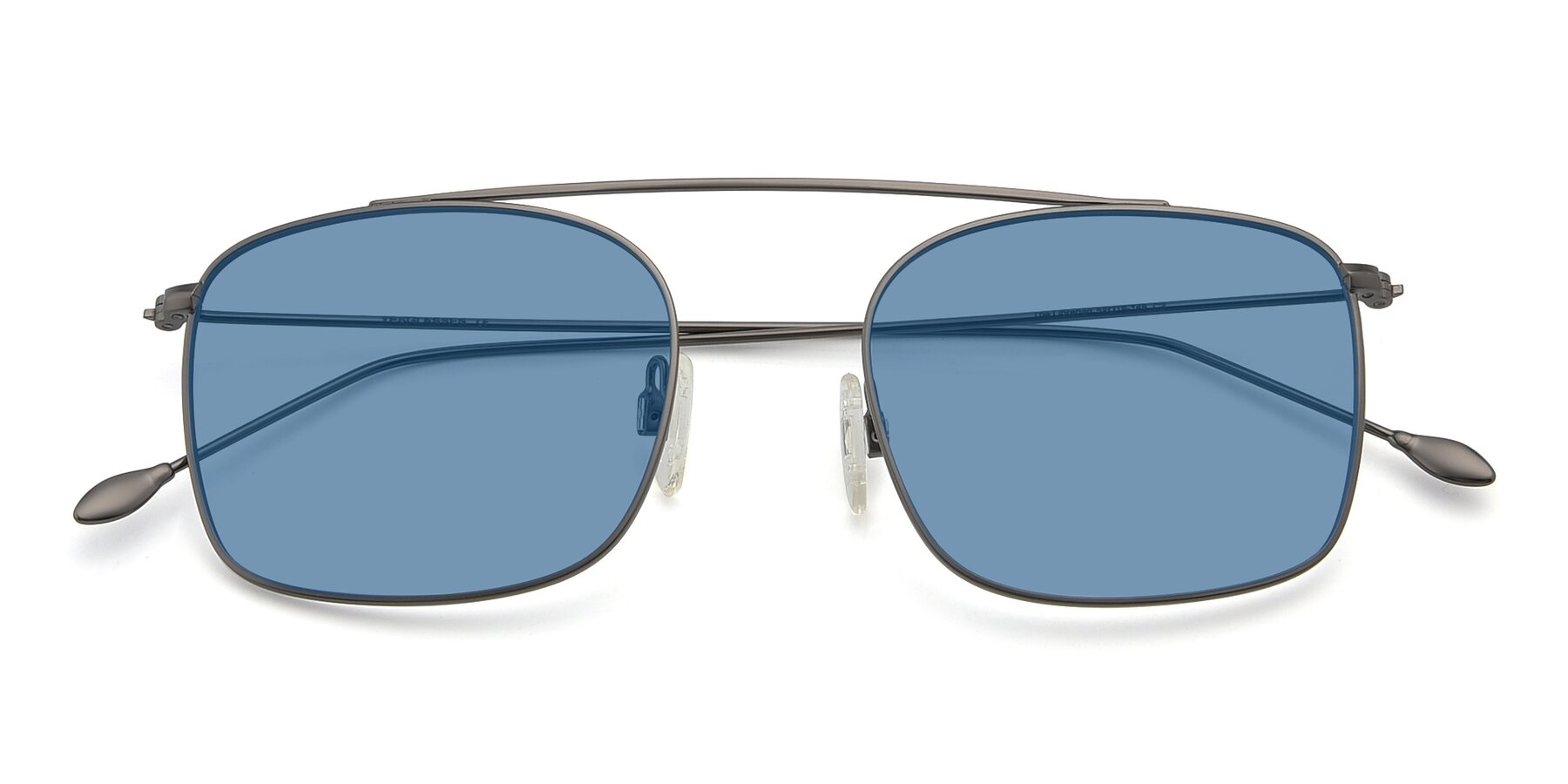 Folded Front of The Librarian in Gunmetal with Medium Blue Tinted Lenses