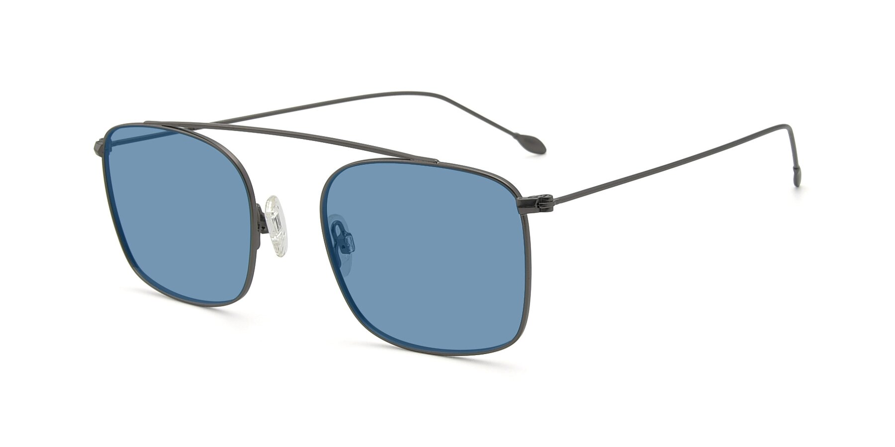 Angle of The Librarian in Gunmetal with Medium Blue Tinted Lenses