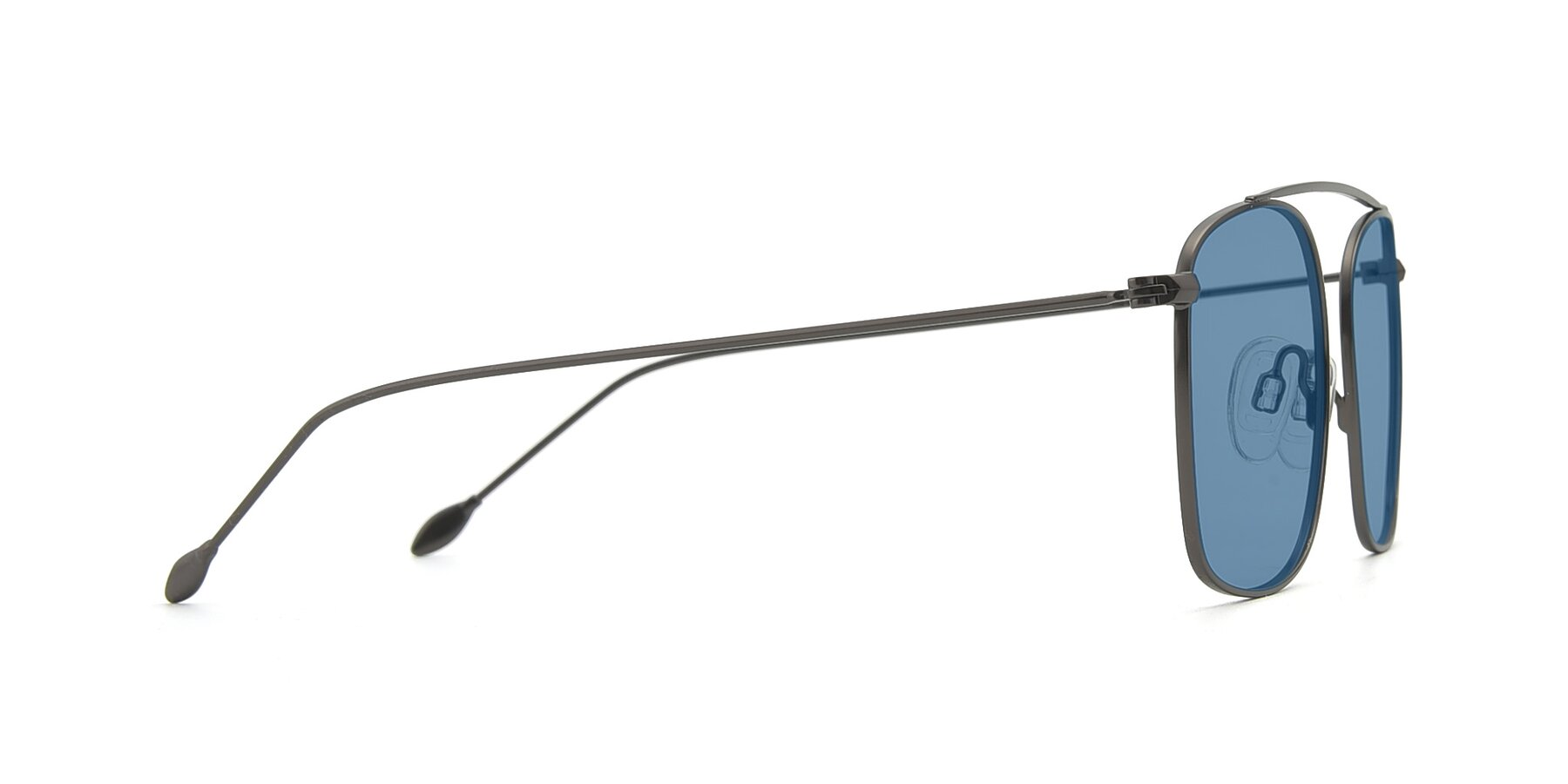 Side of The Librarian in Gunmetal with Medium Blue Tinted Lenses