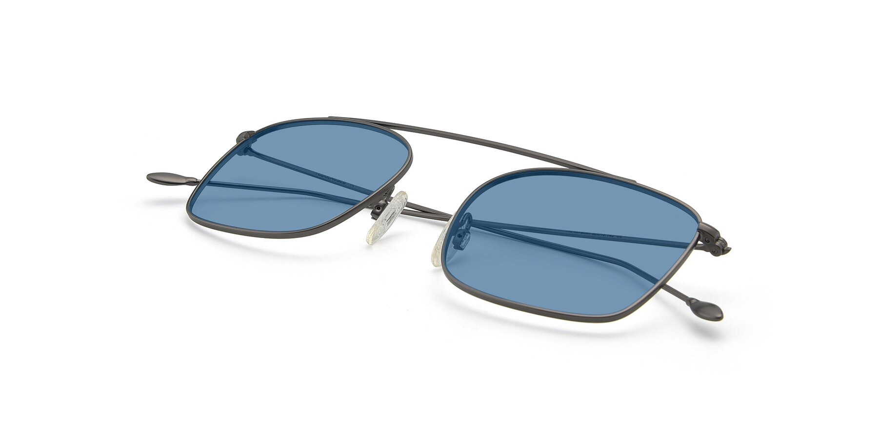 View of The Librarian in Gunmetal with Medium Blue Tinted Lenses