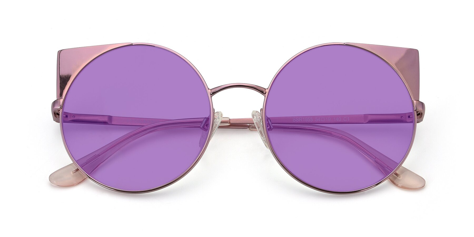 Folded Front of SSR1955 in Pink with Medium Purple Tinted Lenses