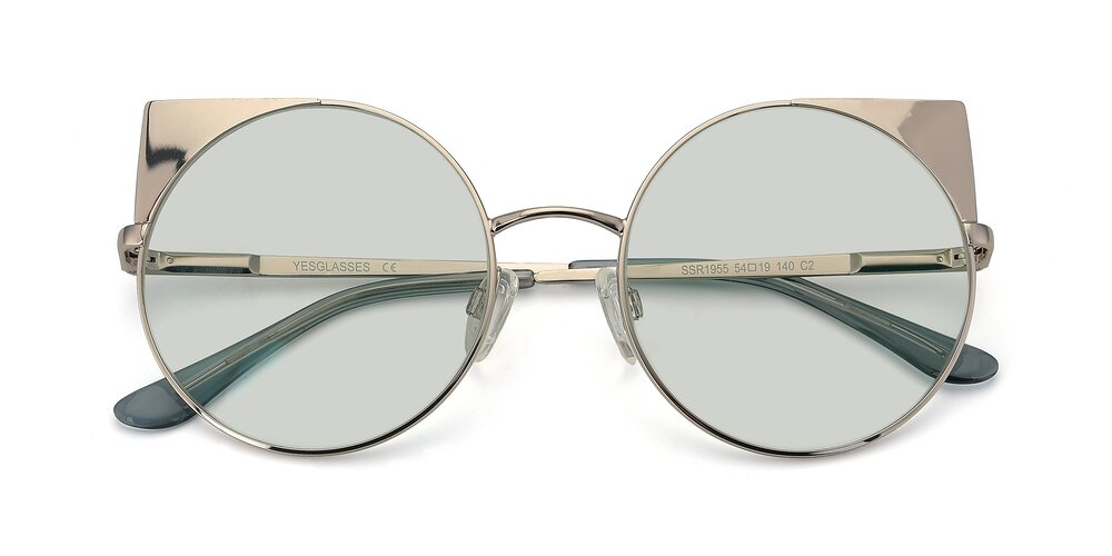 Silver Hipster Cat-Eye Round Tinted Sunglasses With Light Green Sunwear Lenses