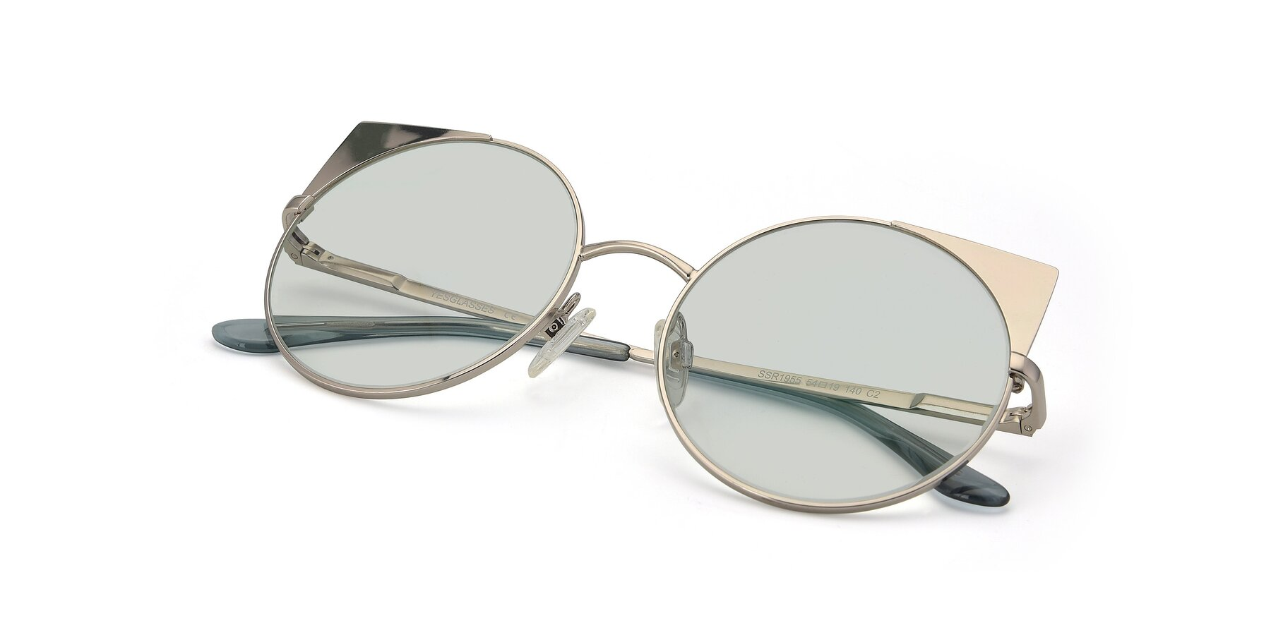 View of SSR1955 in Silver with Light Green Tinted Lenses