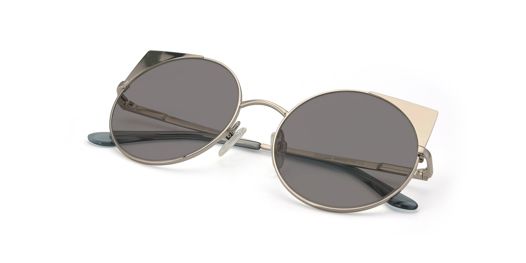 View of SSR1955 in Silver with Medium Gray Tinted Lenses