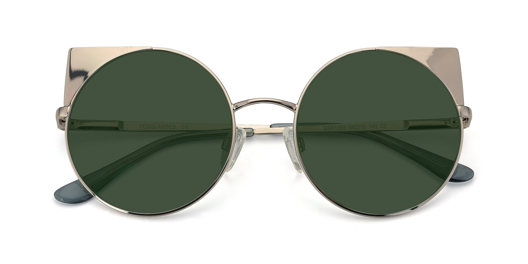 Folded Front of SSR1955 in Silver with Green Tinted Lenses