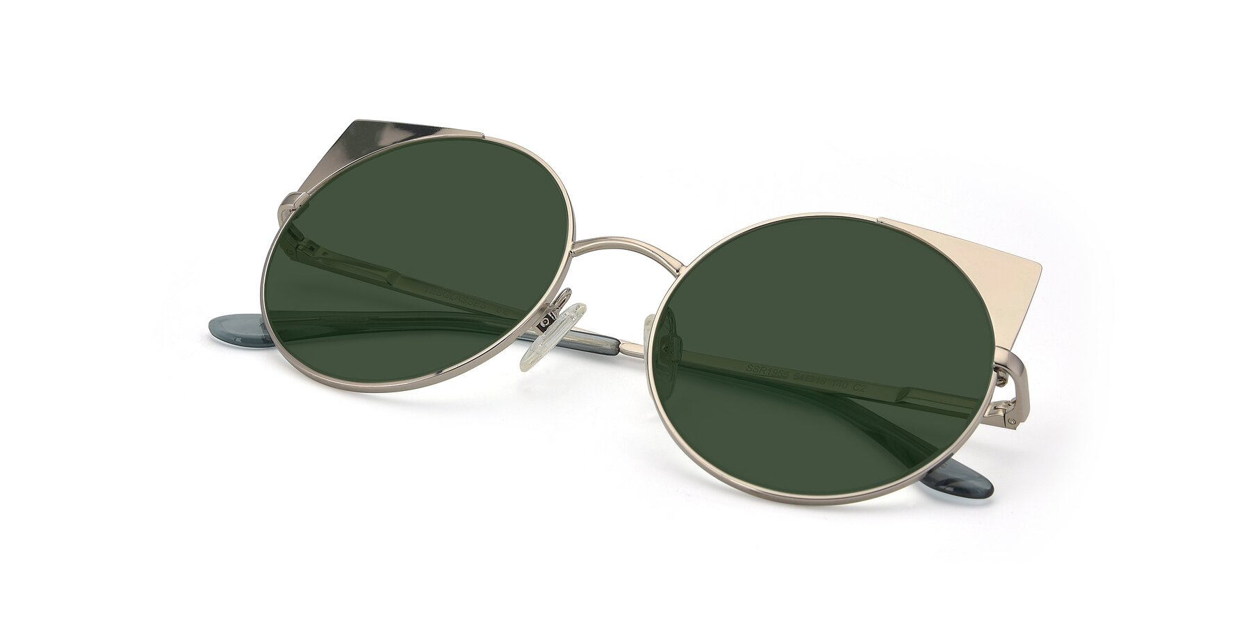 View of SSR1955 in Silver with Green Tinted Lenses
