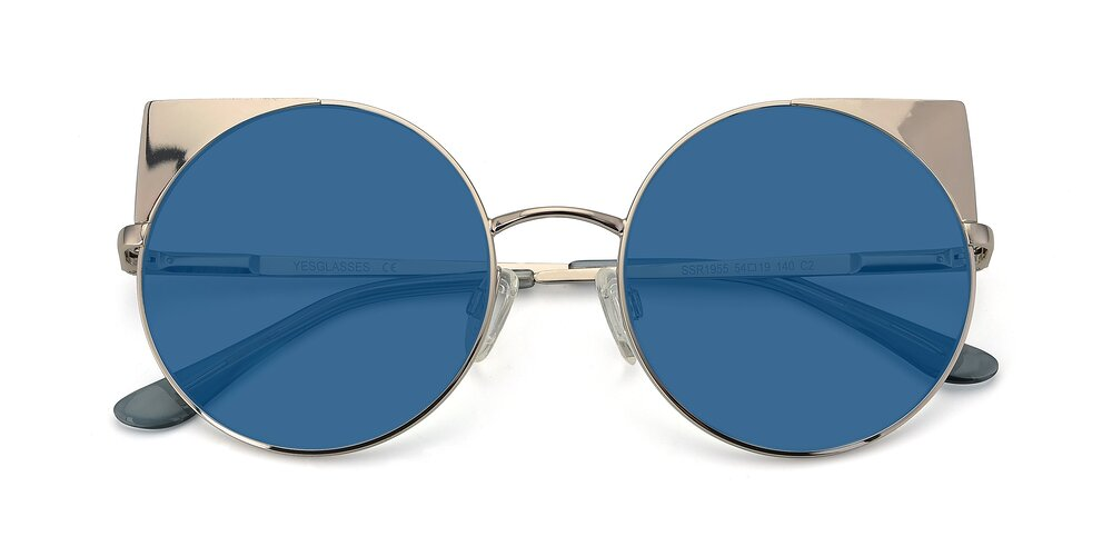 Silver Hipster Cat-Eye Round Tinted Sunglasses With Blue Sunwear Lenses