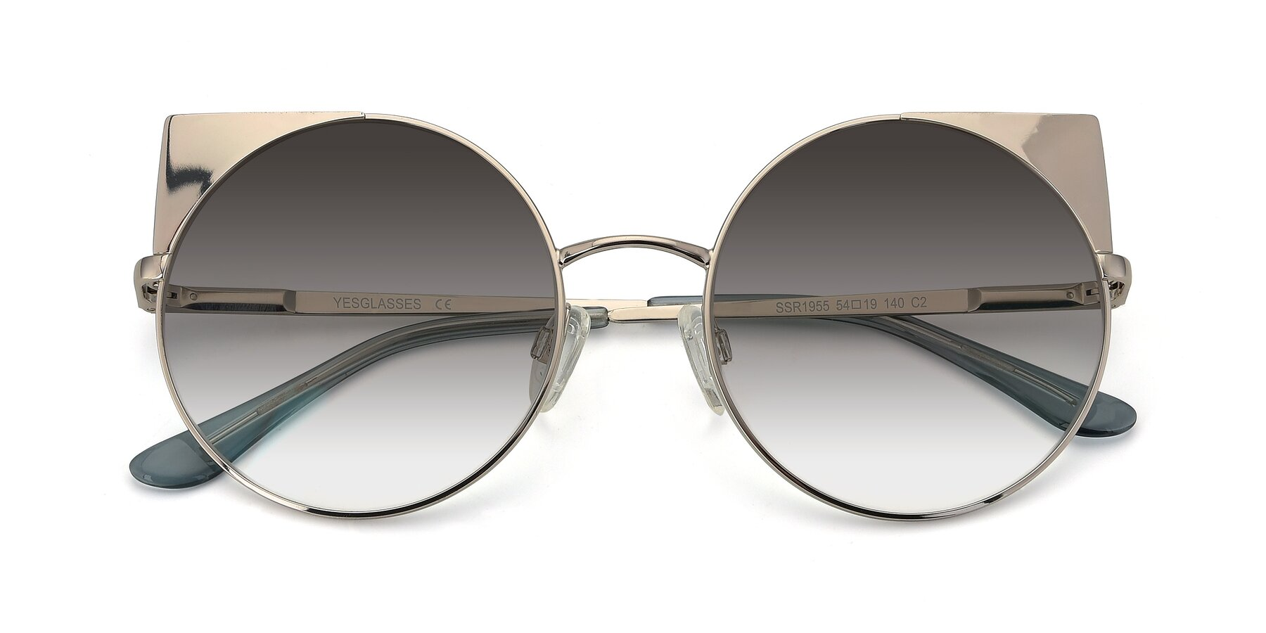 Folded Front of SSR1955 in Silver with Gray Gradient Lenses