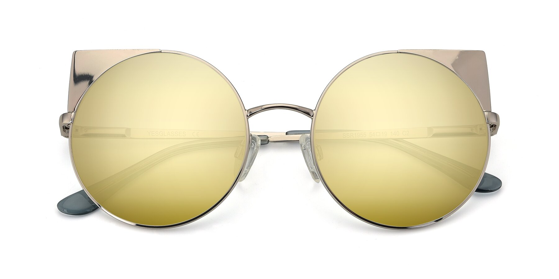 Folded Front of SSR1955 in Silver with Gold Mirrored Lenses