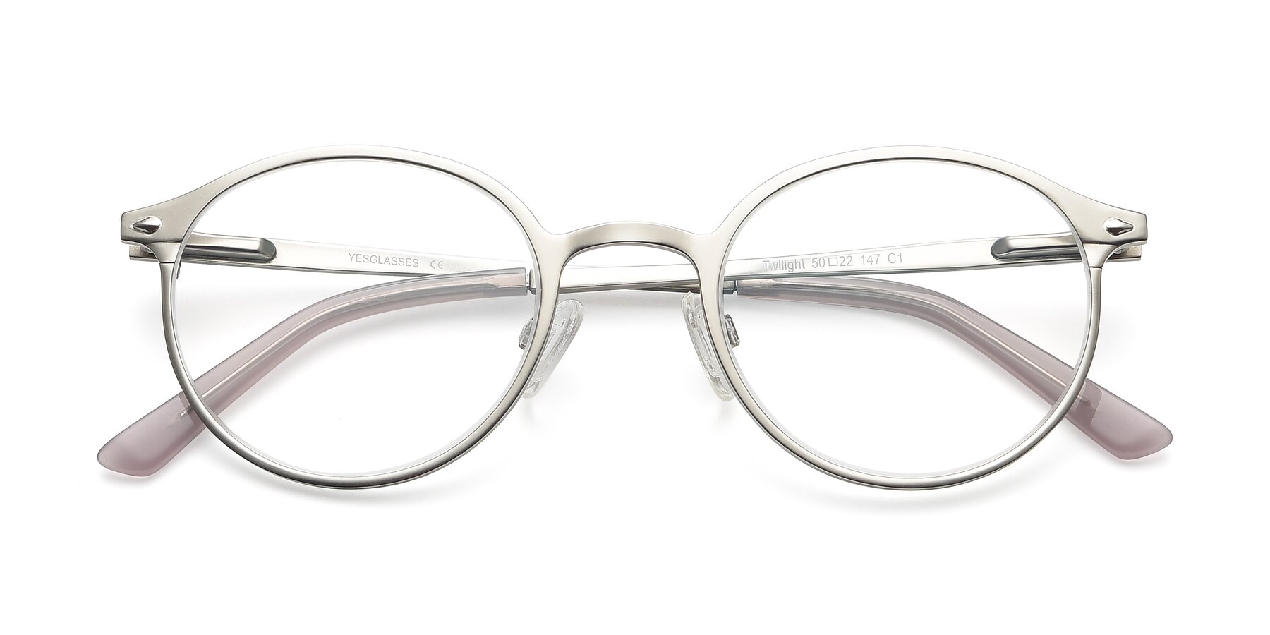 Folded Front of Twilight in Silver with Clear Blue Light Blocking Lenses