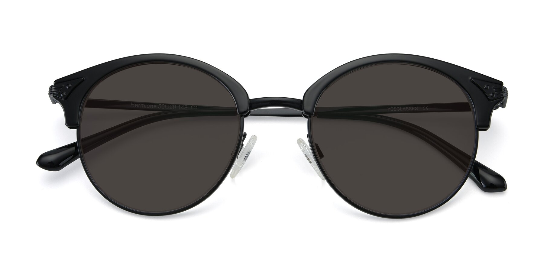 Folded Front of Hermione in Black with Gray Tinted Lenses