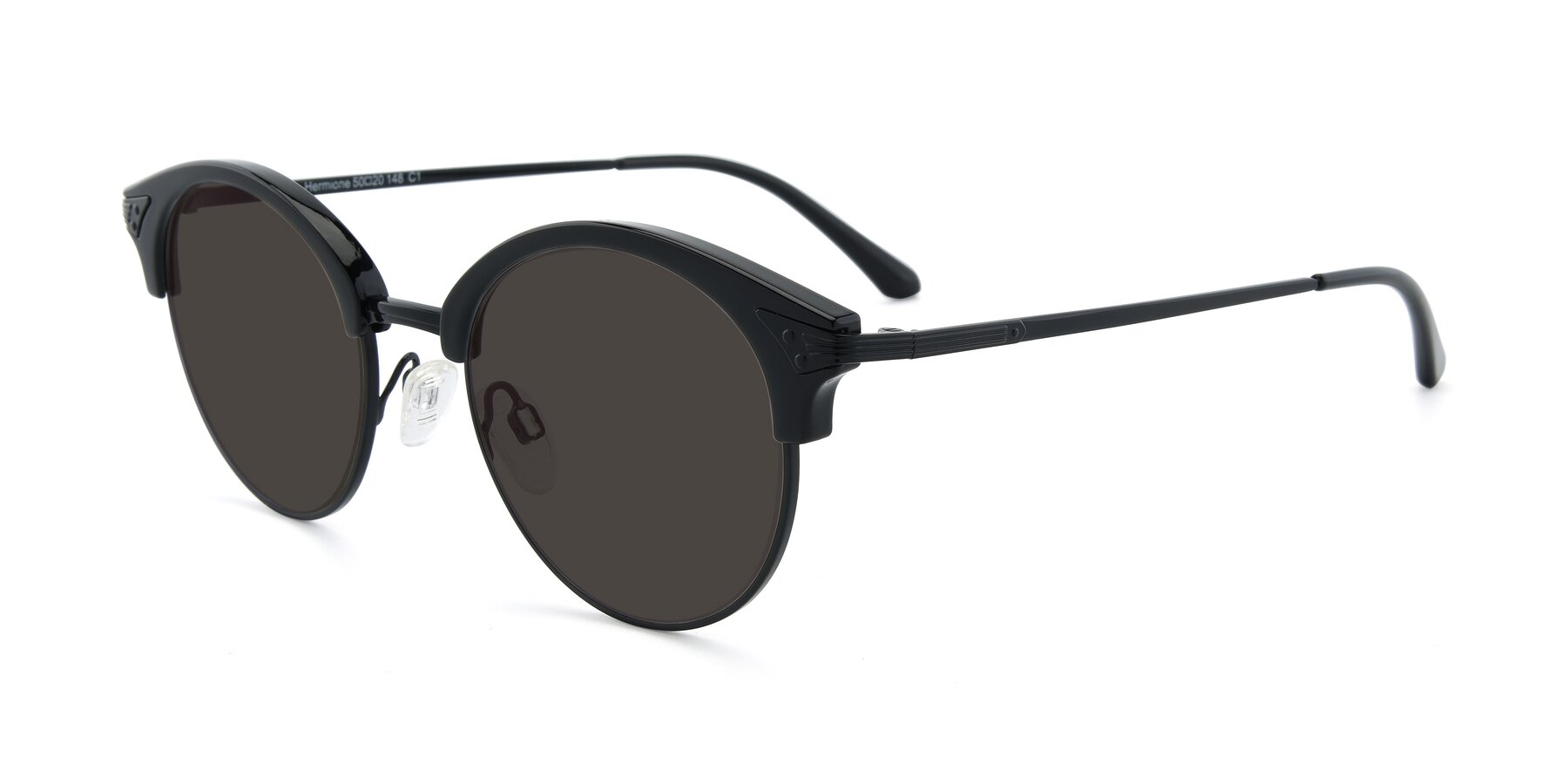 Angle of Hermione in Black with Gray Tinted Lenses